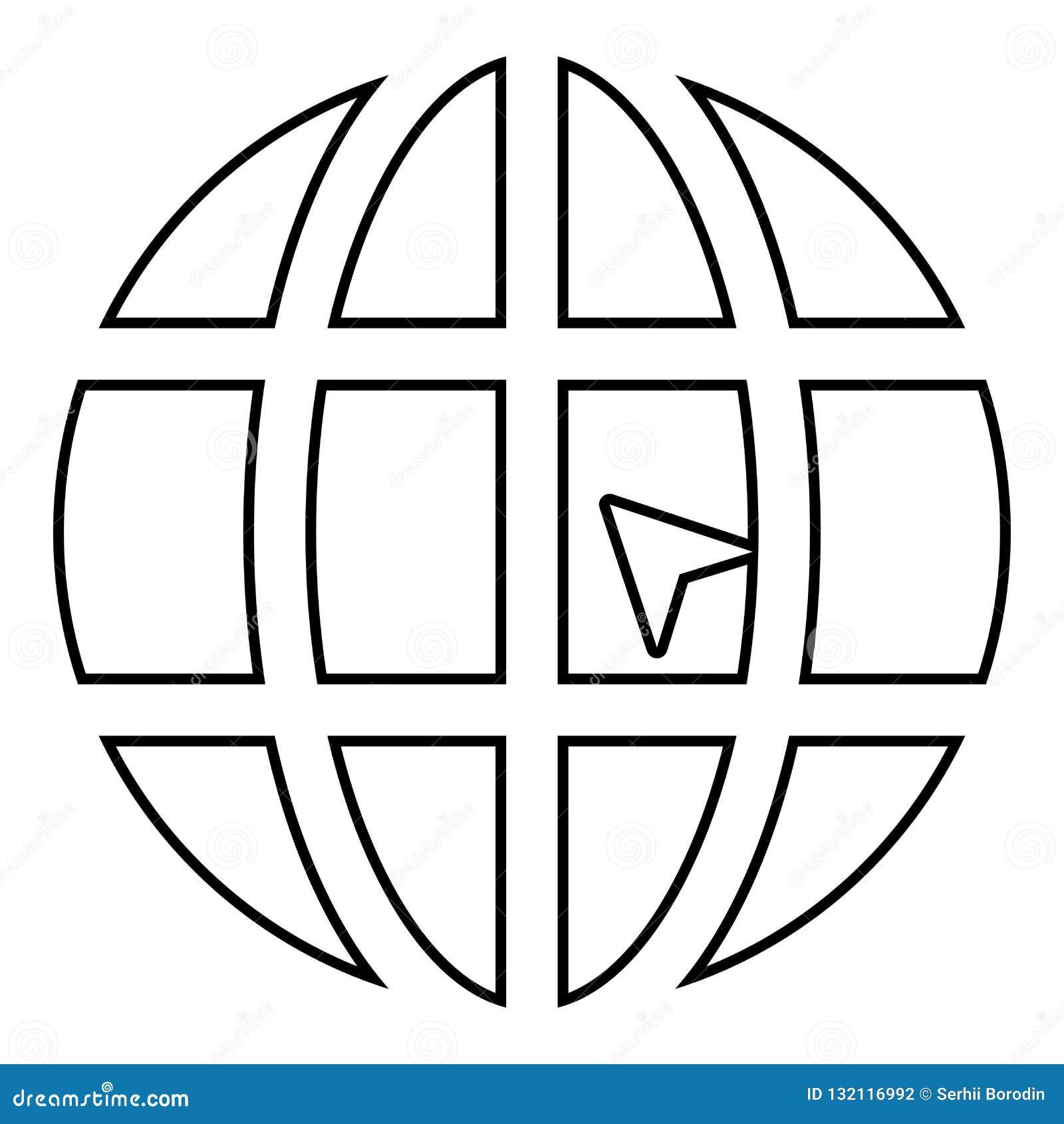 Mundo com esboço da ilustração de cor do preto do ícone do Web site do conceito do clique do mundo da seta