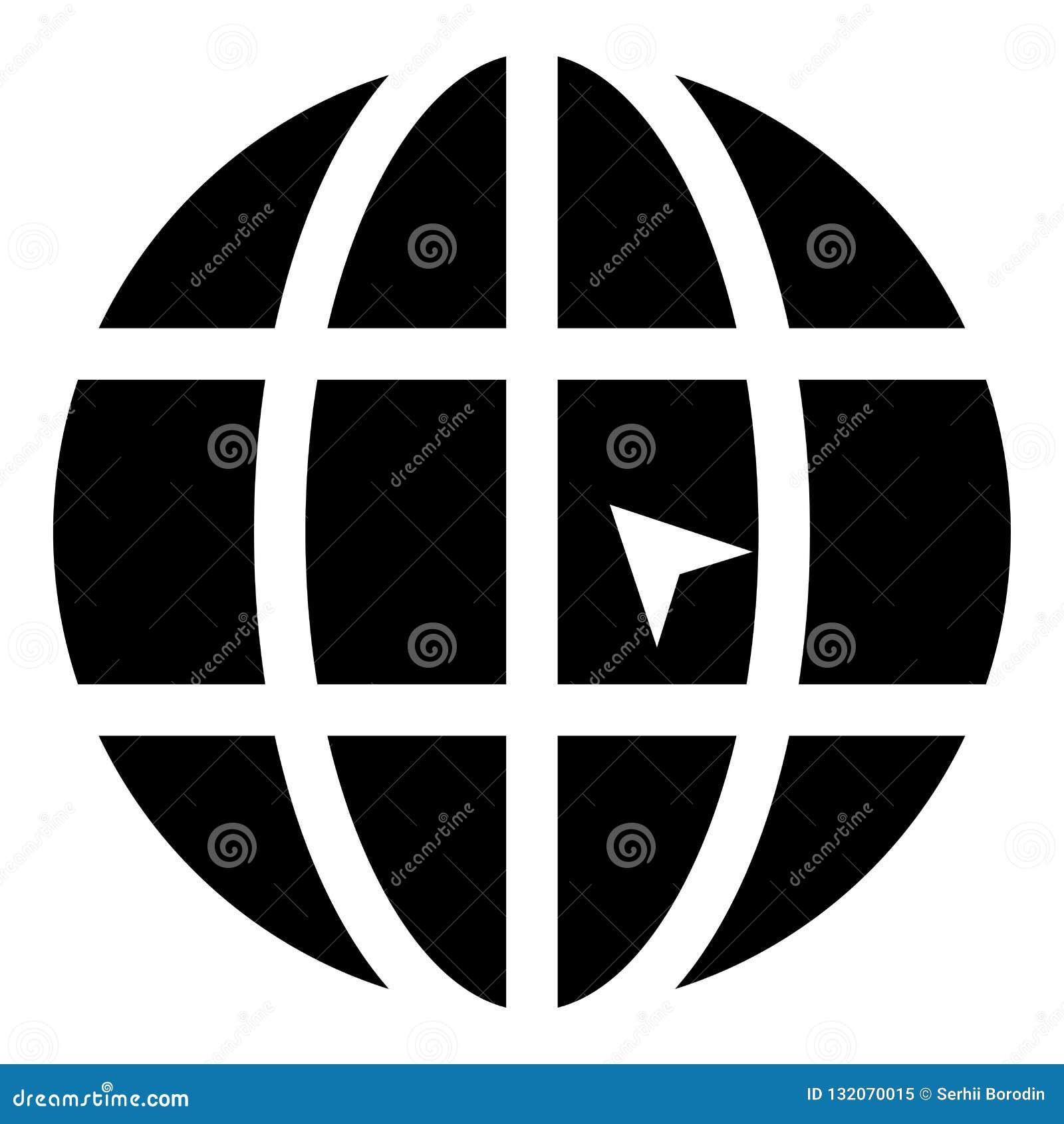 Mundo com ilustração de cor do preto do ícone do Web site do conceito do clique do mundo da seta