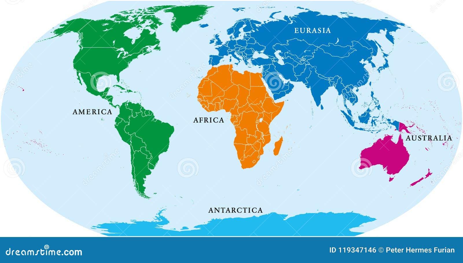 Mundo de cinco continentes, mapa político