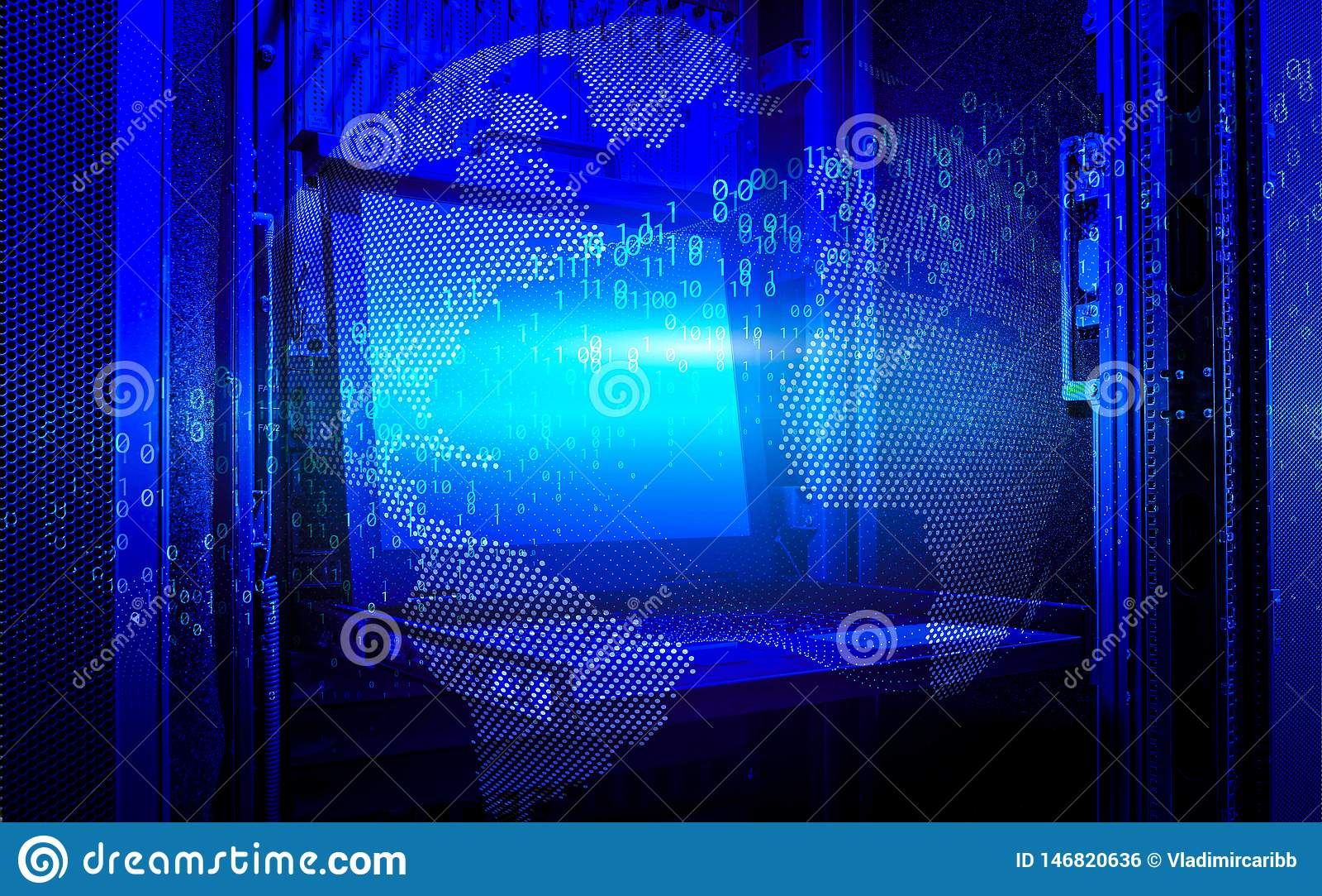 Mundo de Digitas e rendição moderna do código binário 3d da terra do conceito da tecnologia