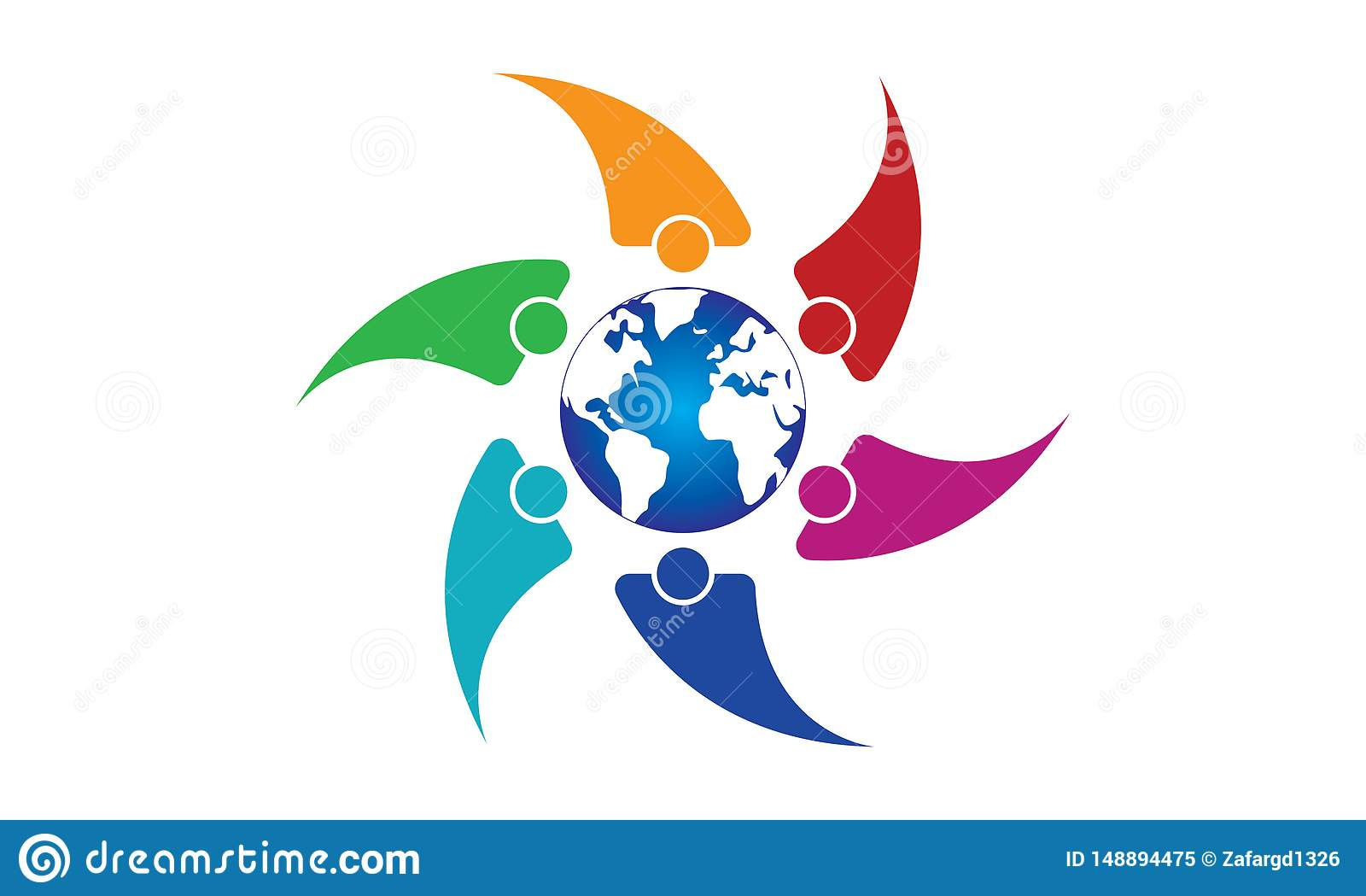 Mundo de Team Work Logo Around The - negocio circular redondeado Team United Logo de la plantilla del globo y de Team Work Union