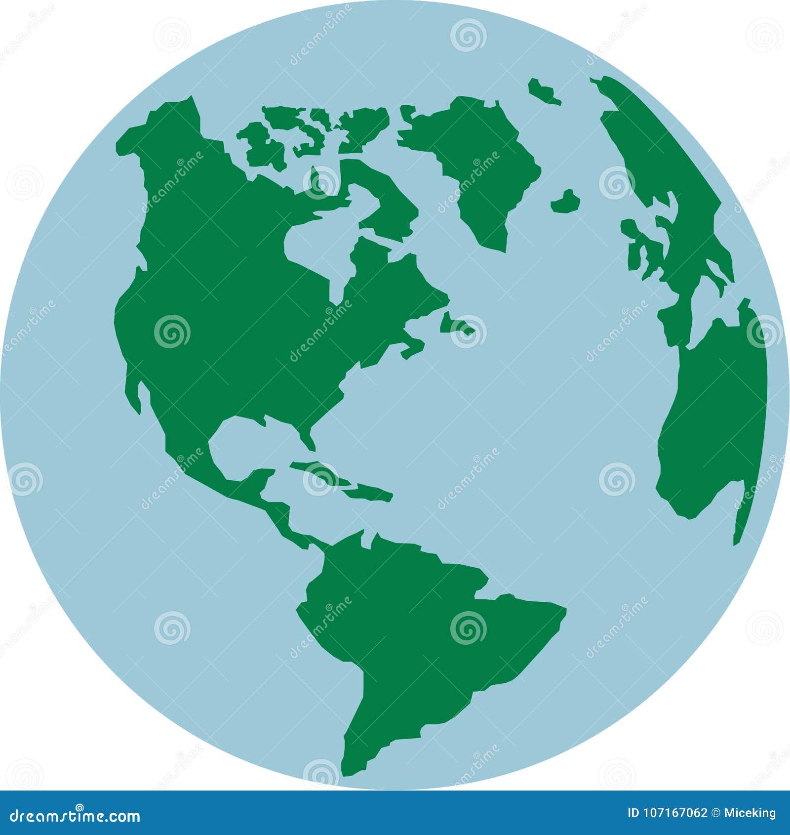 Mundo del globo con los continentes americanos