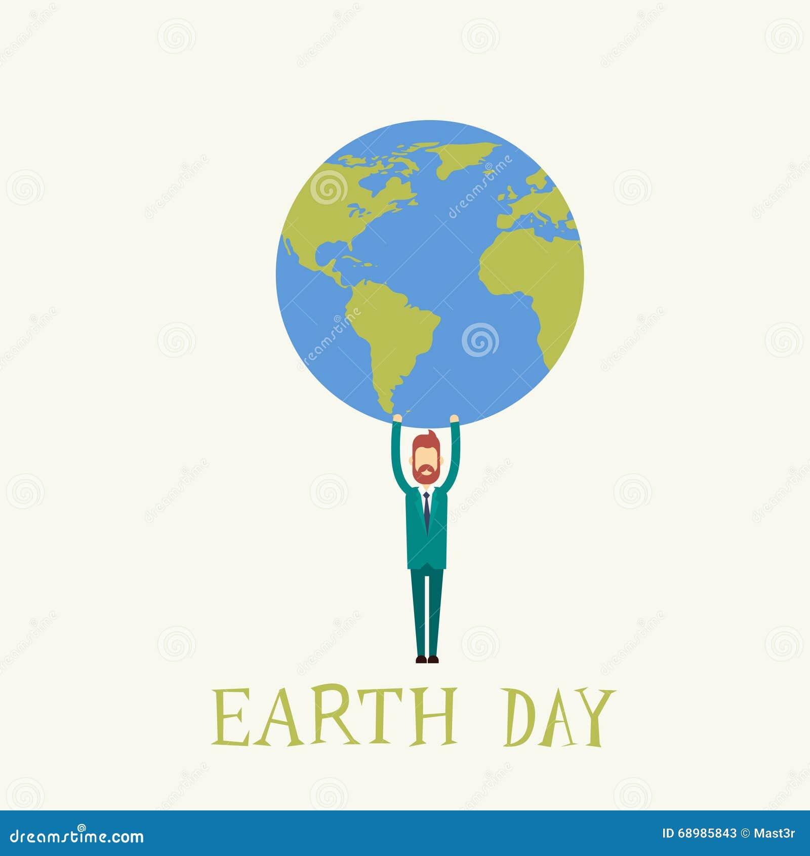 Mundo del globo del control del hombre del Día de la Tierra