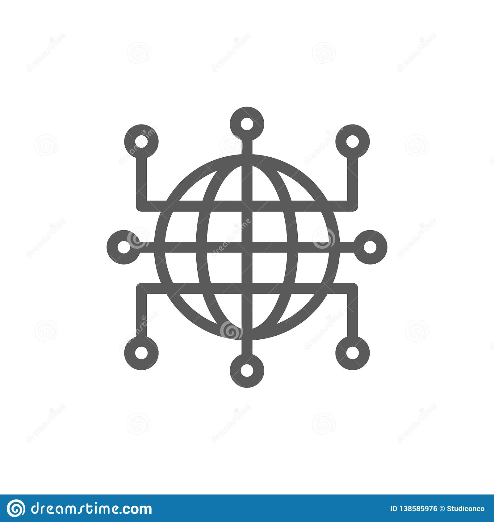 Mundo global com contatos fechados, blockchain, linha ícone do cryptocurrency