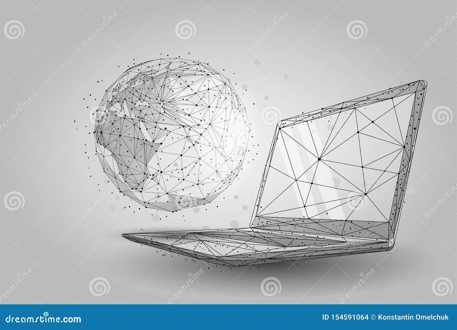 Mundo global del wireframe polivinílico bajo Tierra del planeta en la pantalla del ordenador portátil