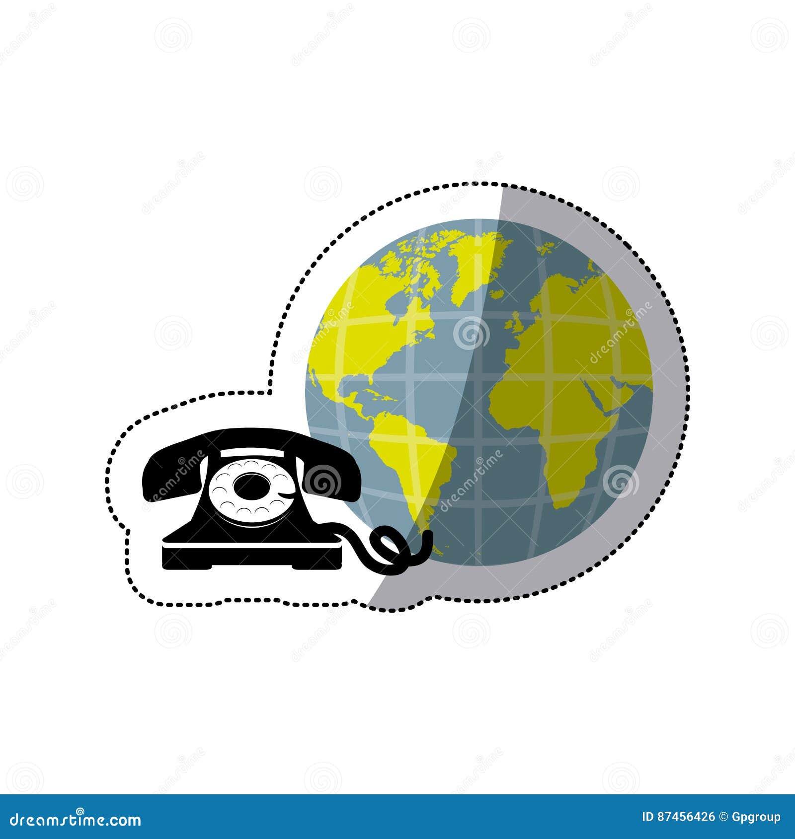Mundo opaco da terra da etiqueta com o telefone da antiguidade da silhueta
