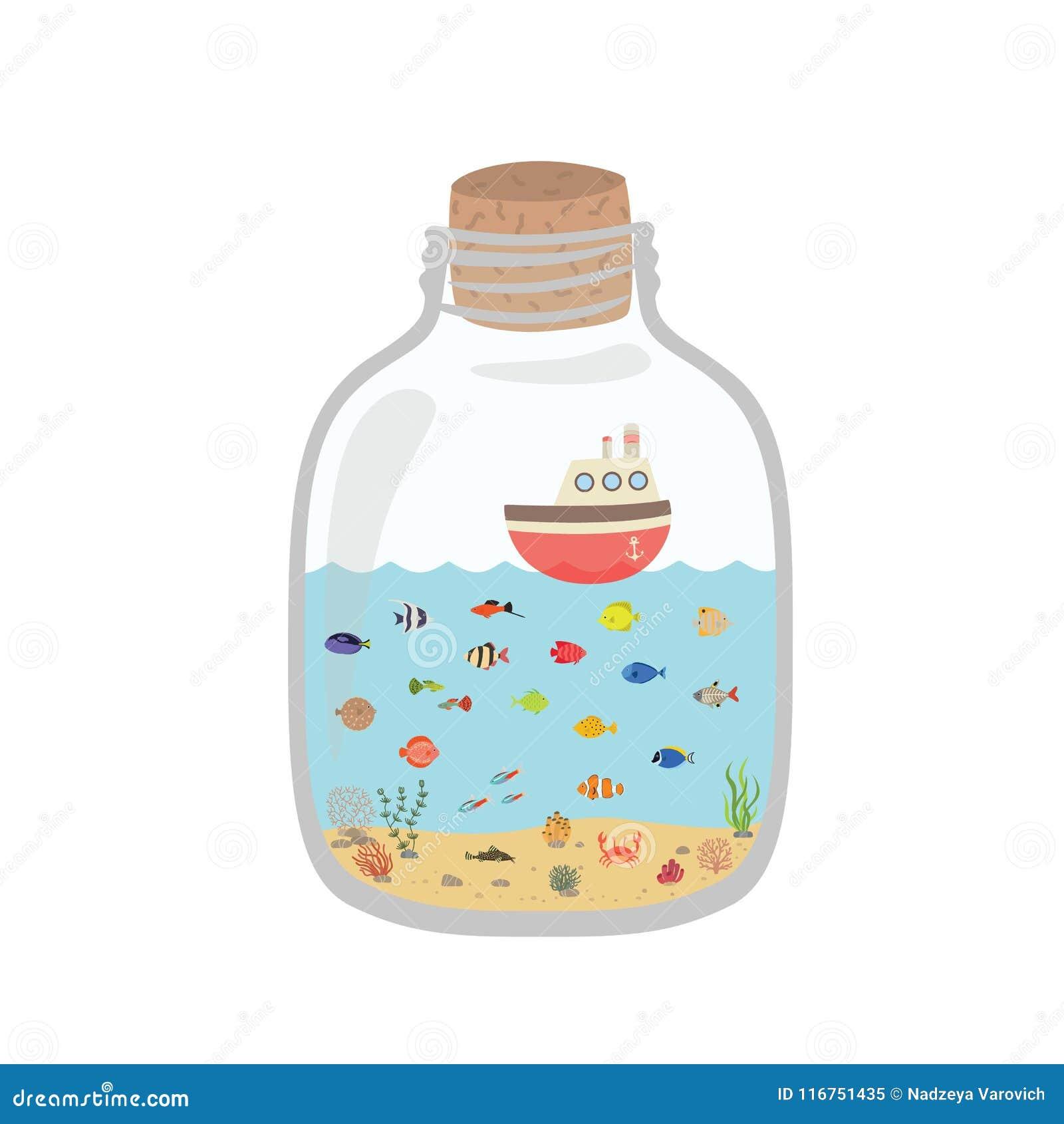 Mundo subaquático em uma garrafa, peixe colorido dos desenhos animados do mar exótico
