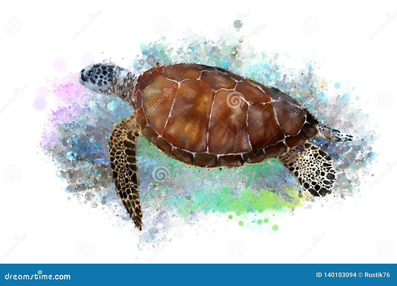 Mundo tropical subaquático com uma tartaruga em um fundo abstrato