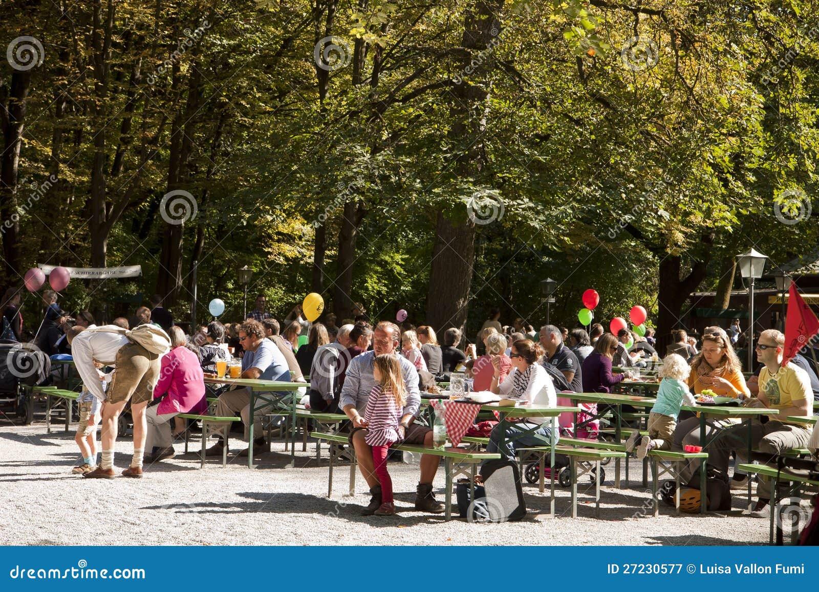 Munich Biergarten At Englischer Garten Editorial Photography