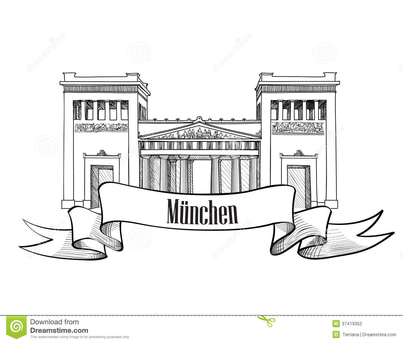 munich city symbol silhouette  cityscape label collection  stock photography