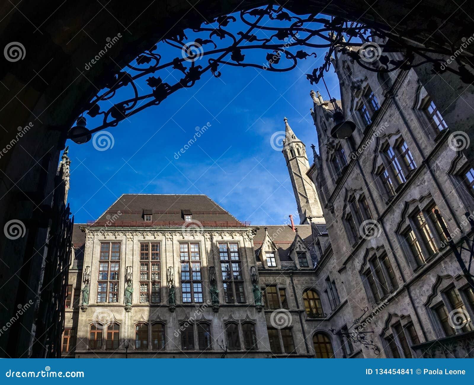 MUNICH, Germany - January 17, 2018: Courtyard of the New Municipality Neues Rathaus