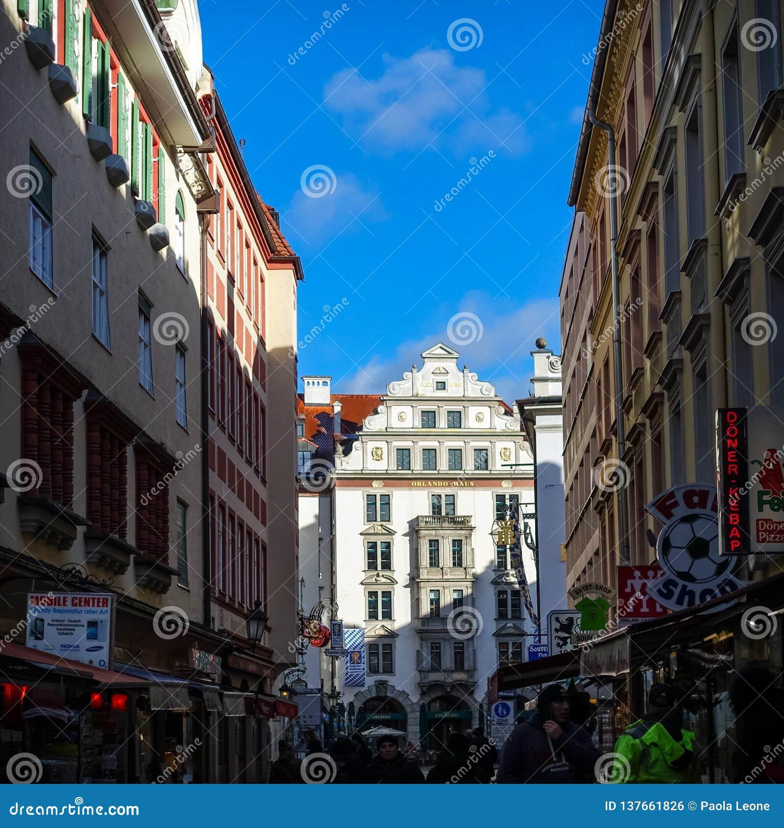 Munich, GERMANY - January 17, 2018: Platzl with Orlando Haus in Munich