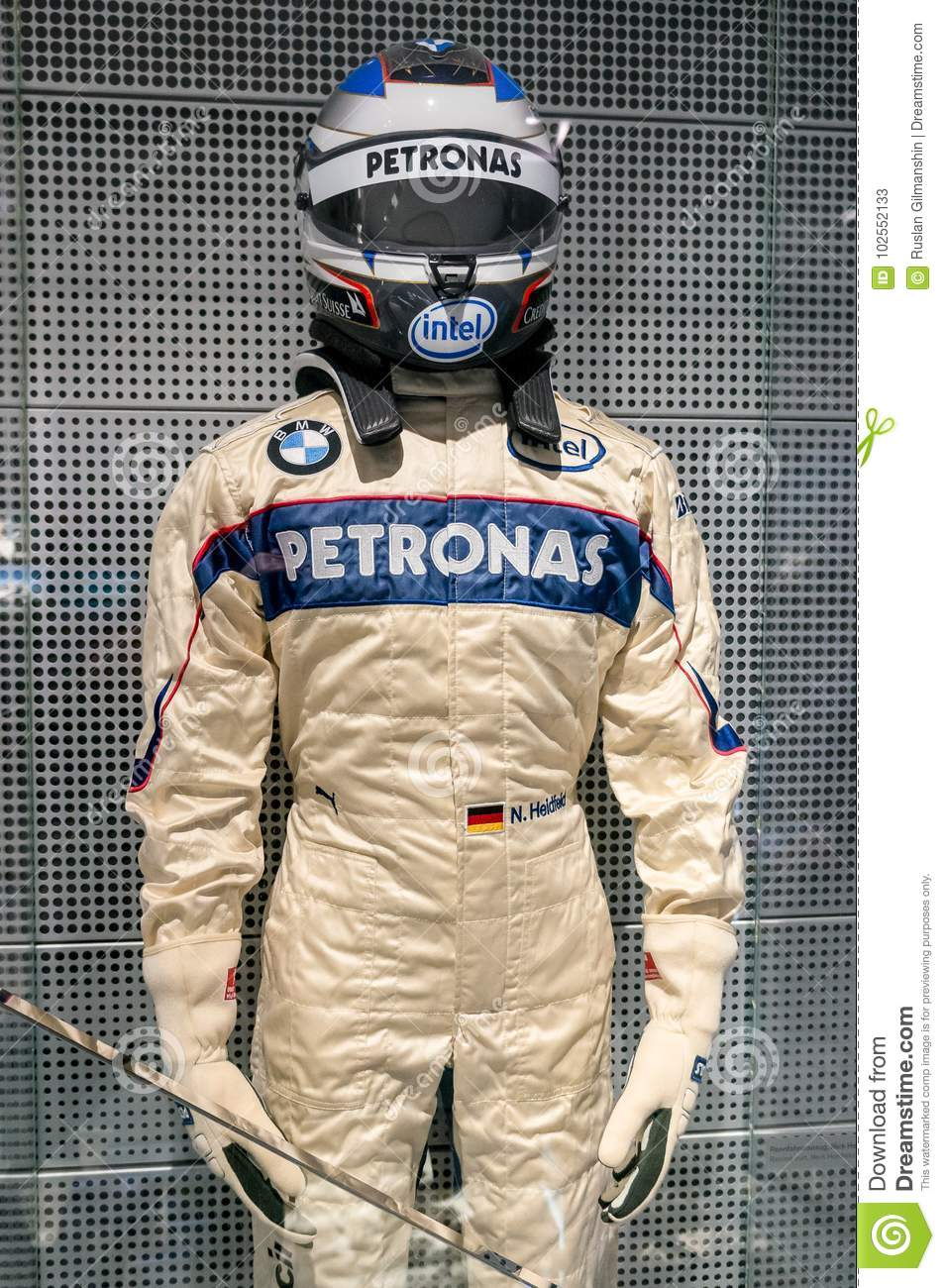 Munich Germany March 10 2016 Formula One Suit Of Bmw Race Car Driver Wearing Protective Leather And Helmet Editorial Stock Photo Image Of Famous Formula 102552133