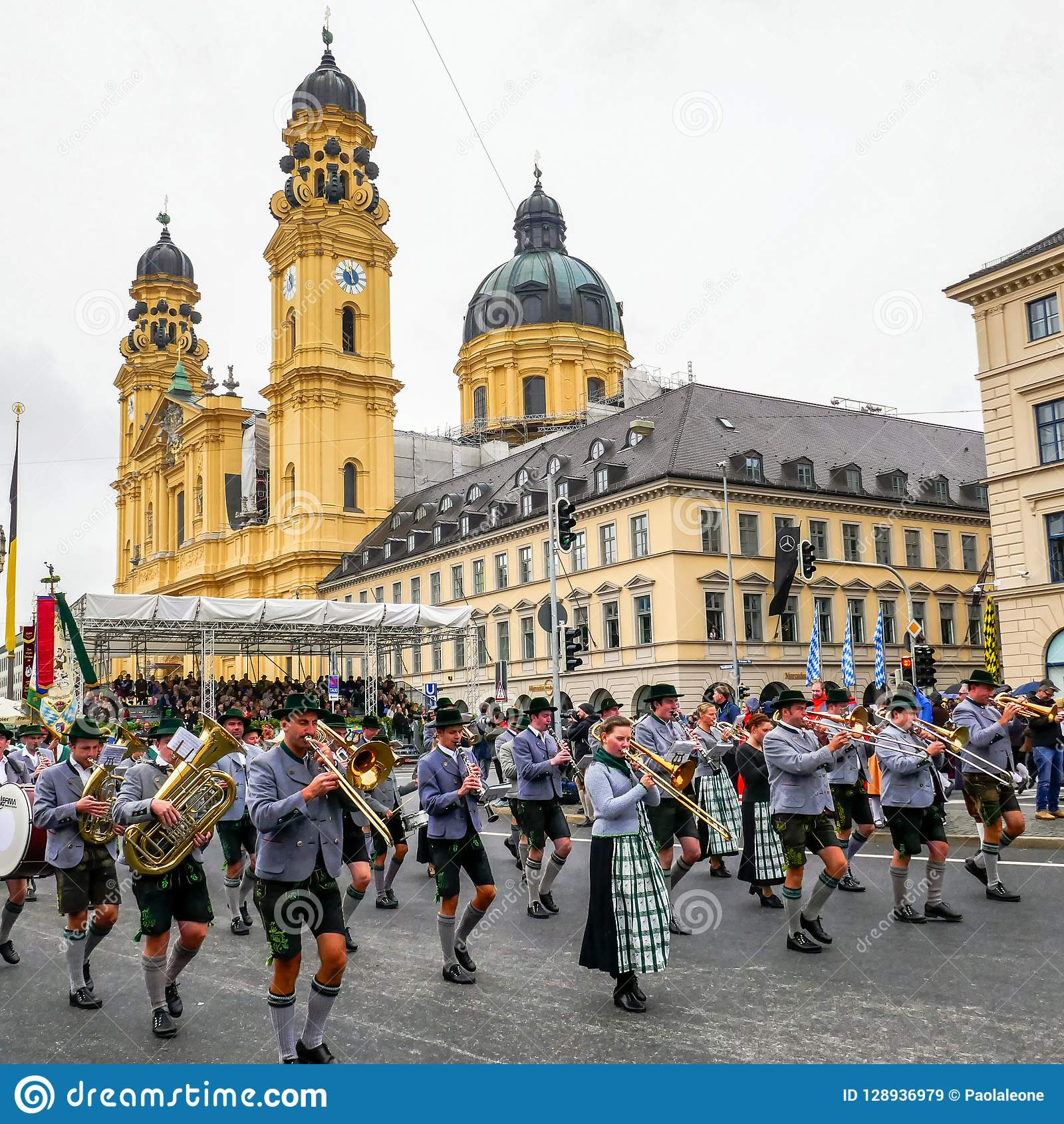MUNICH, Germany - September 17, 2017: Octoberfest Opening Parade, with traditional Musicians and Cityscape