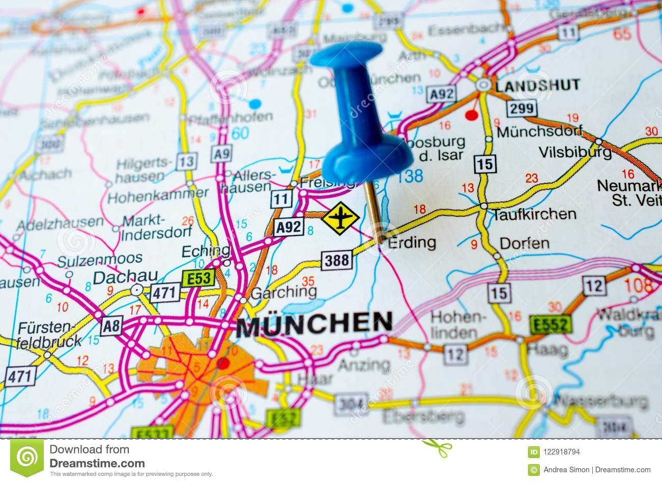 Munich on map stock photo. Image of state, maps, munich - 122918794