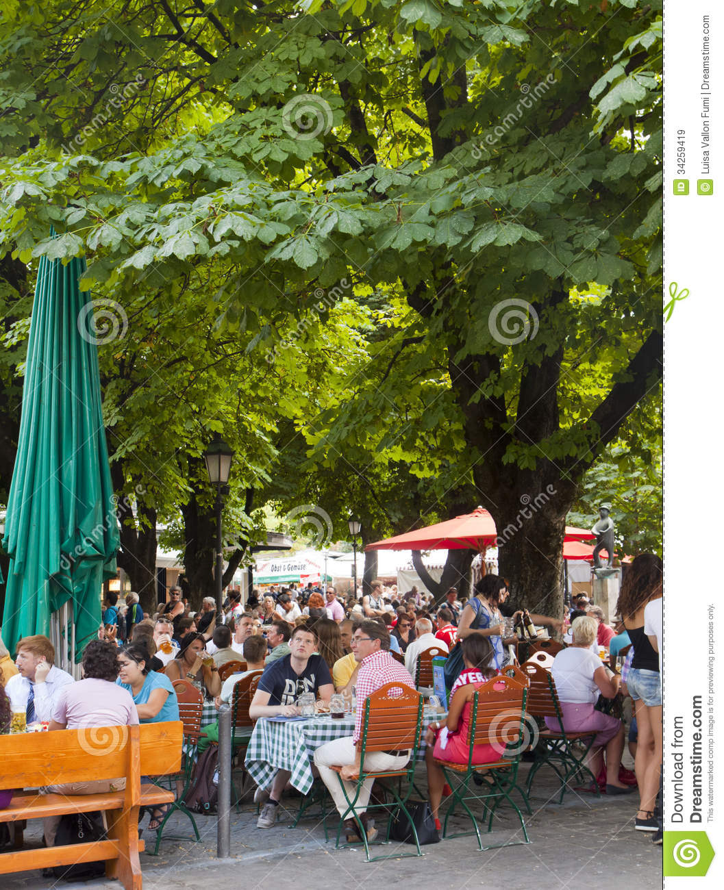 Munich, people at a typical open air restaurant