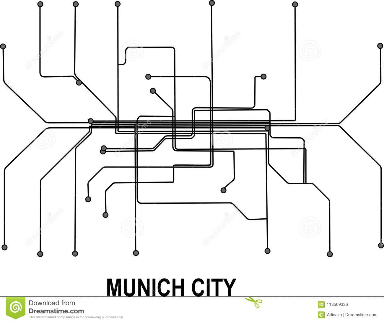 Munich Subway Map.Munich City Map Stock Vector Illustration Of Underground 113569336