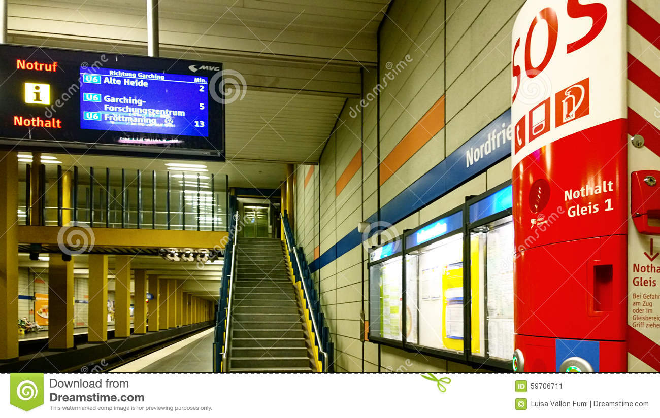 munich subway station with sos spot and train departures. Black Bedroom Furniture Sets. Home Design Ideas