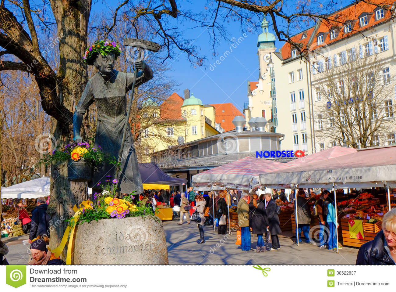 munich viktualienmarkt in spring editorial photography image 38622837. Black Bedroom Furniture Sets. Home Design Ideas