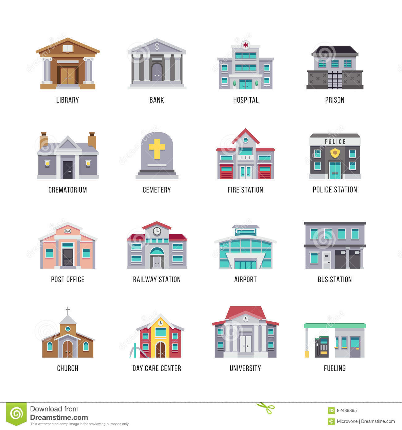 Municipal city buildings library, bank, hospital, prison vector icon set