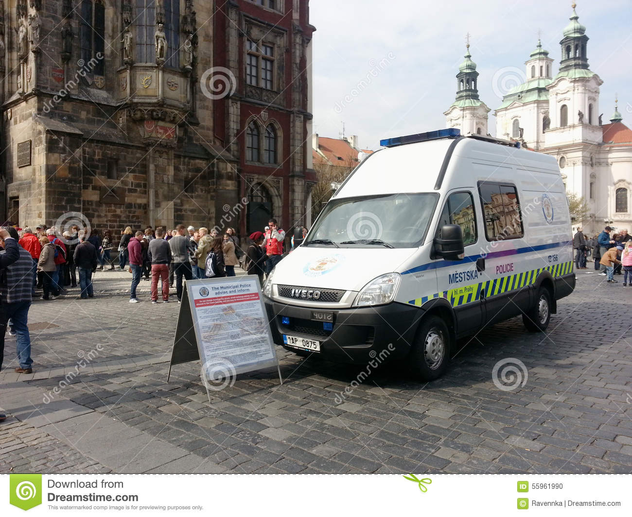 Download Municipal Police Van With Information Sign On Old Town Square, P Editorial Image - Image of patrol, crowd: 55961990