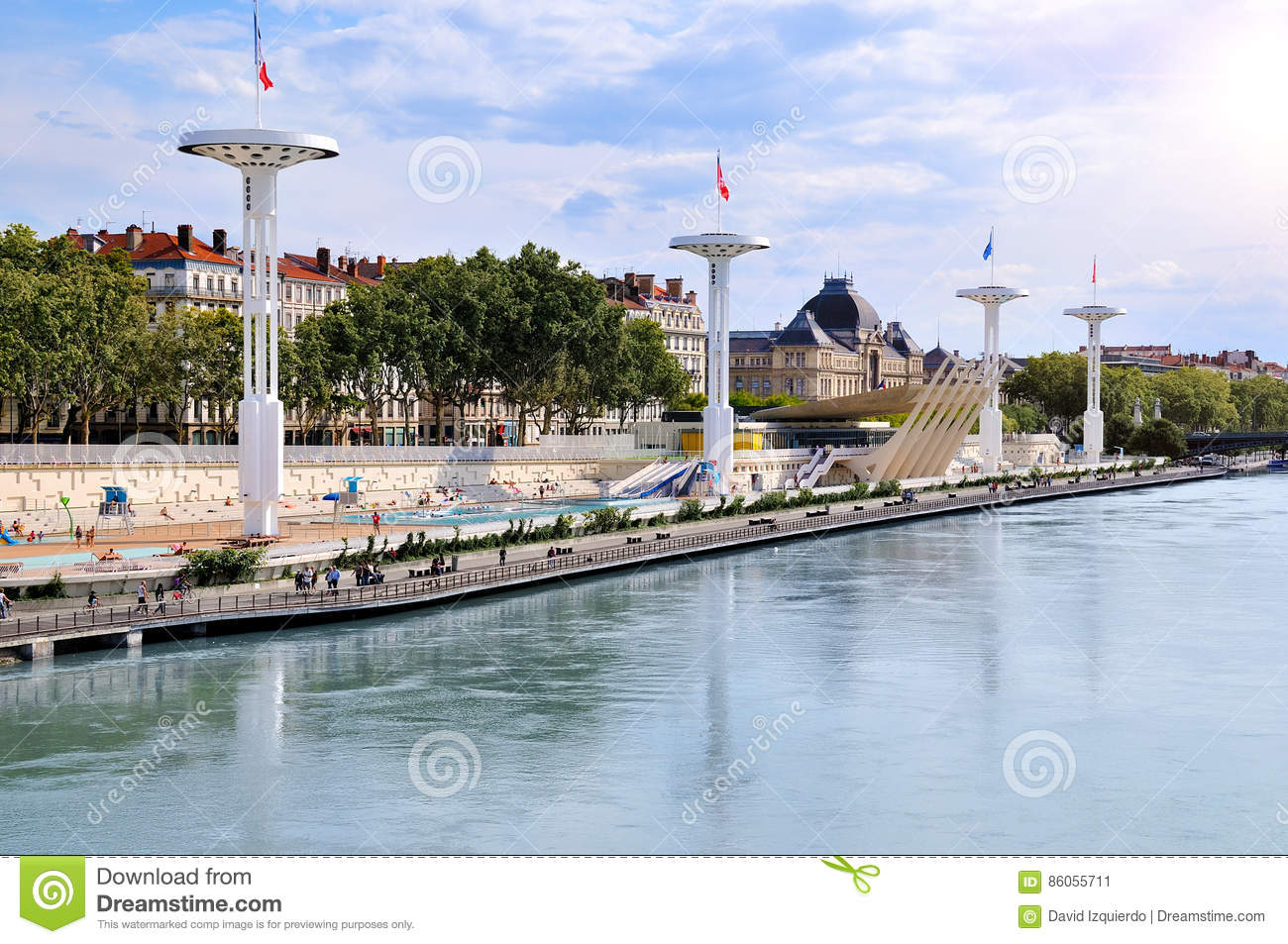 Municipal Swimming Pools Of Lyon On The Rhone River France Stock Photo Image 86055711