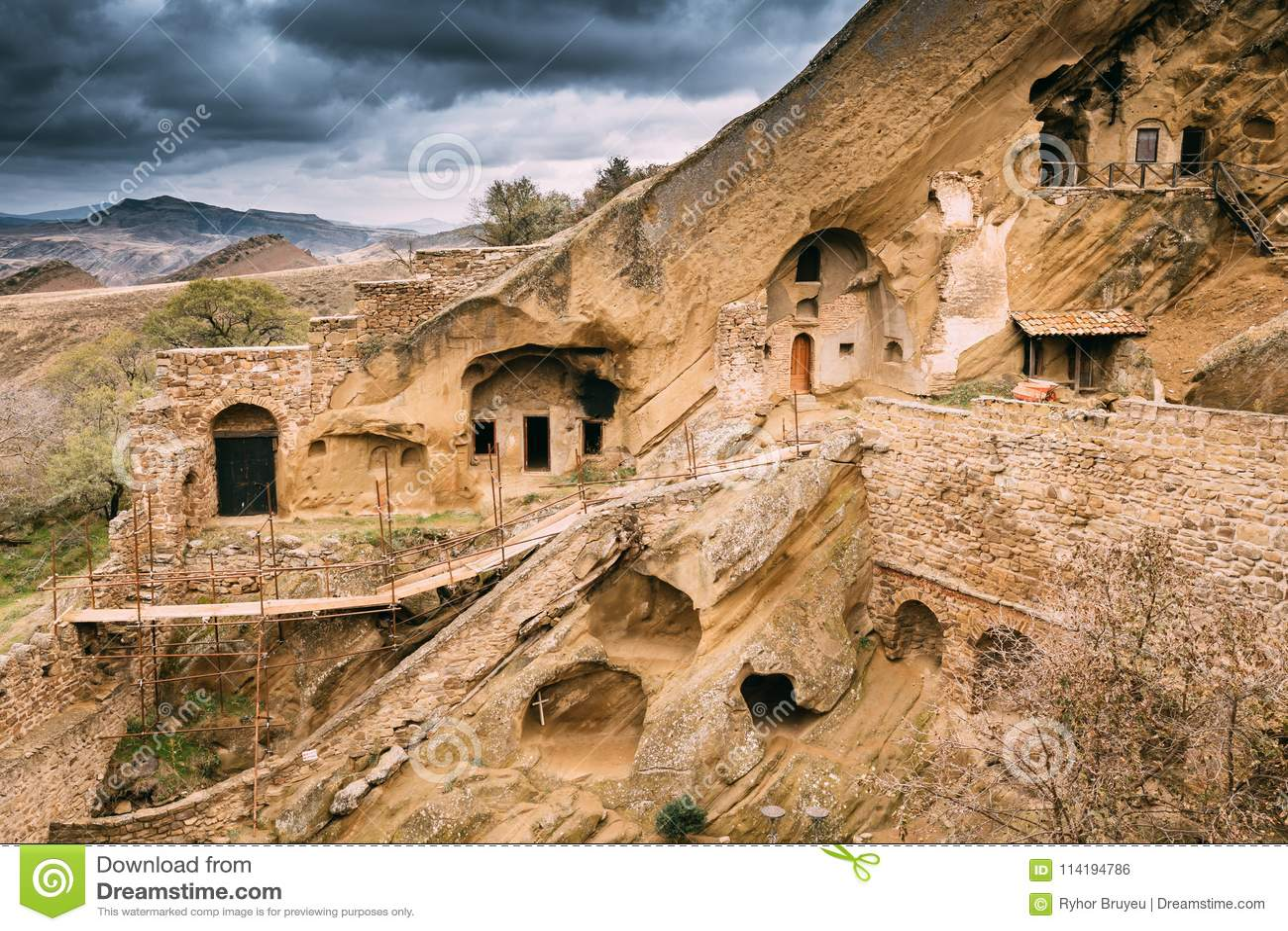 A municipalidade de Sagarejo, região de Kakheti, Geórgia David Gareja Monastery Complex ortodoxo Georgian Rocha-desbastado antigo