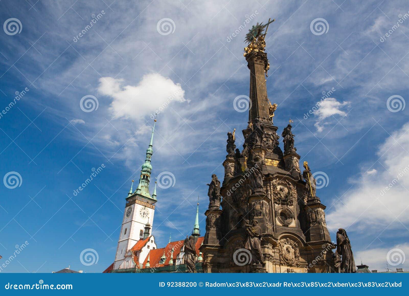 Municipio e colonna della trinità santa, Olomouc, repubblica Ceca