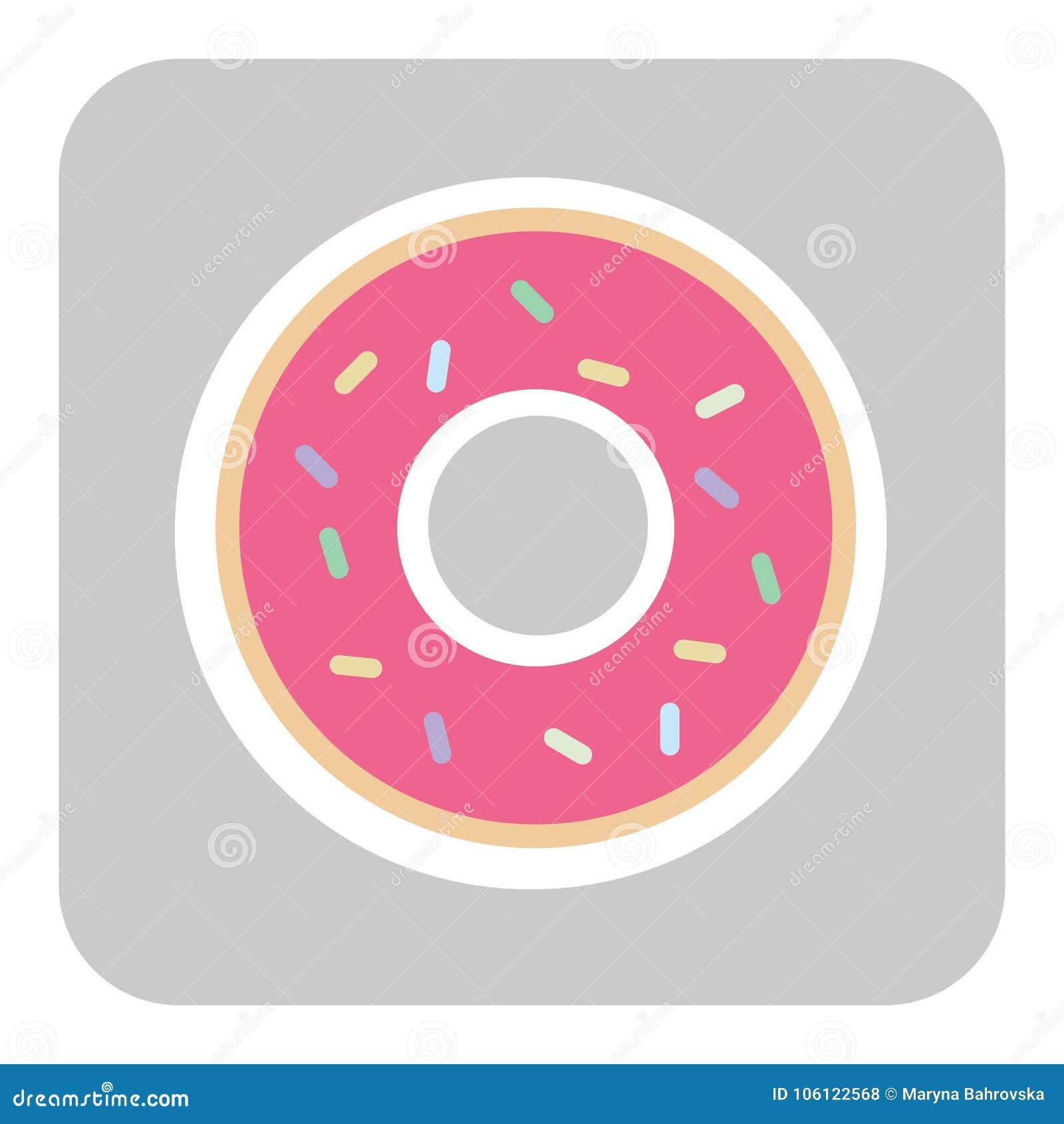 Munk med rosa färgglasyr munksymbol, vektorillustration