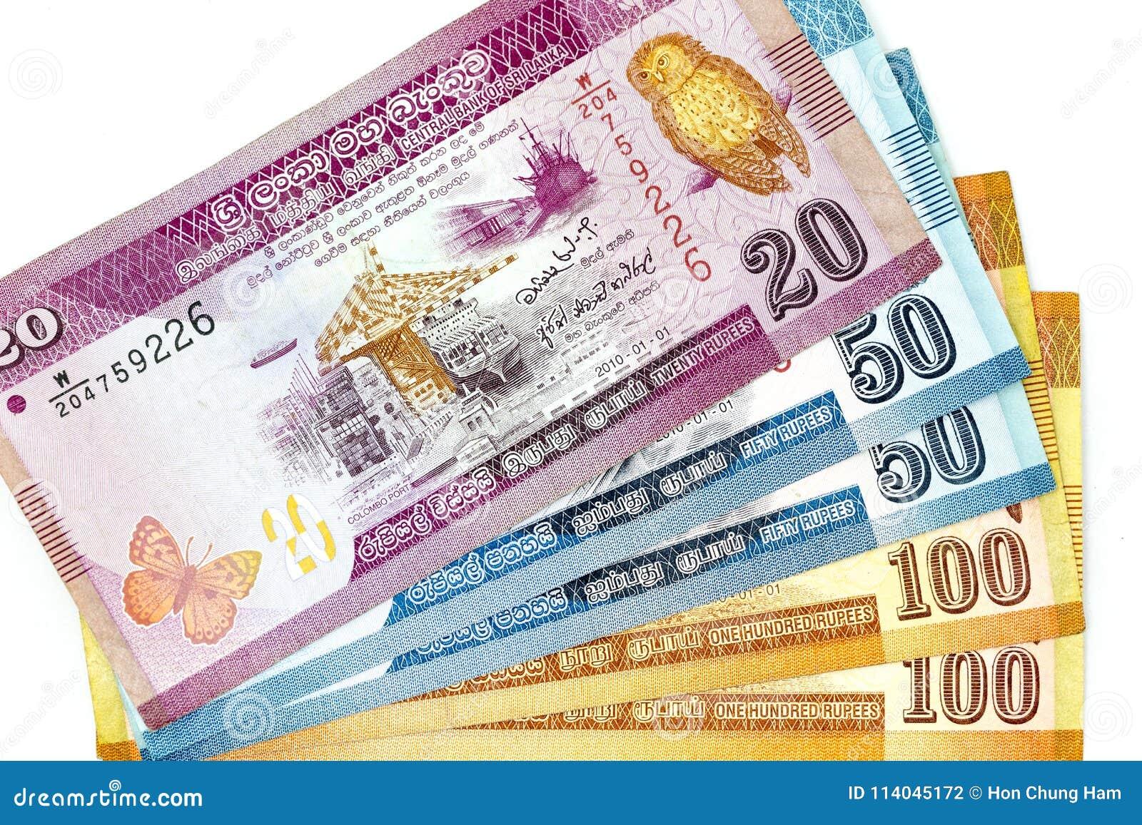 Muntbankbiljetten over de lankan Roepie van kadersri in diverse benaming worden uitgespreid die