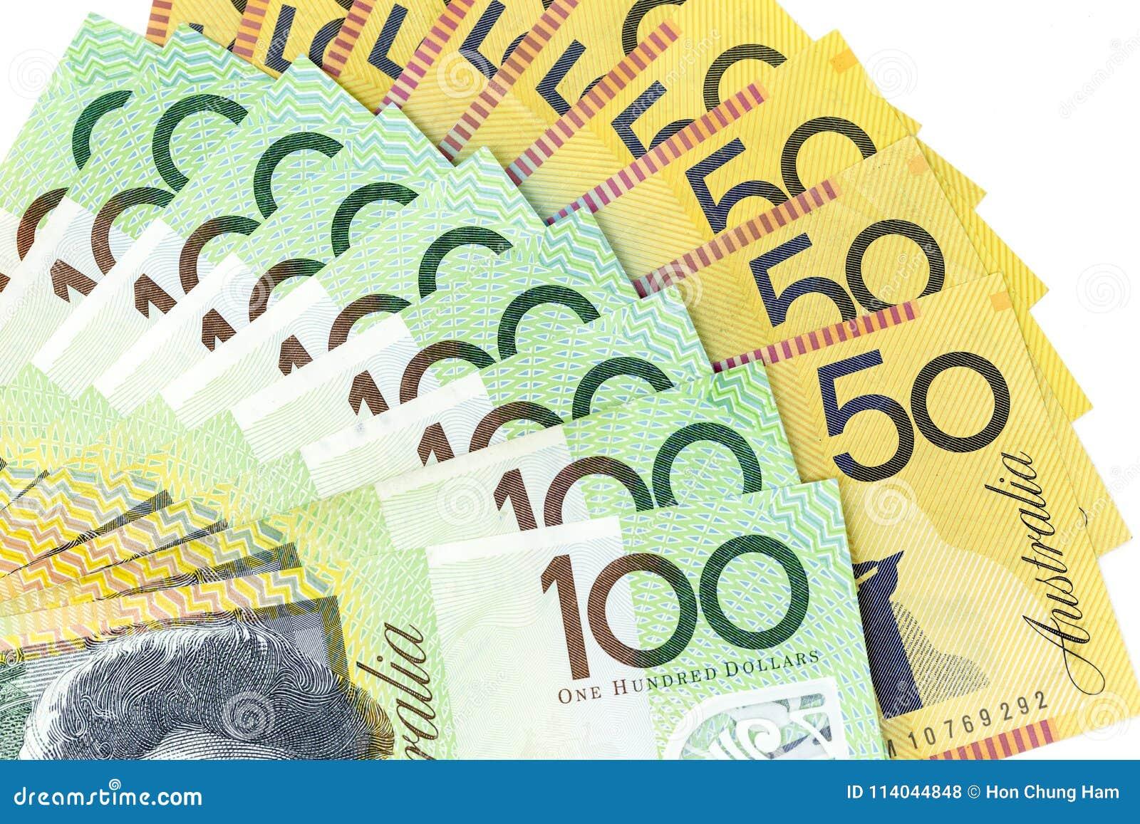 Muntbankbiljetten over kader Australische dollar worden uitgespreid in diverse benaming die