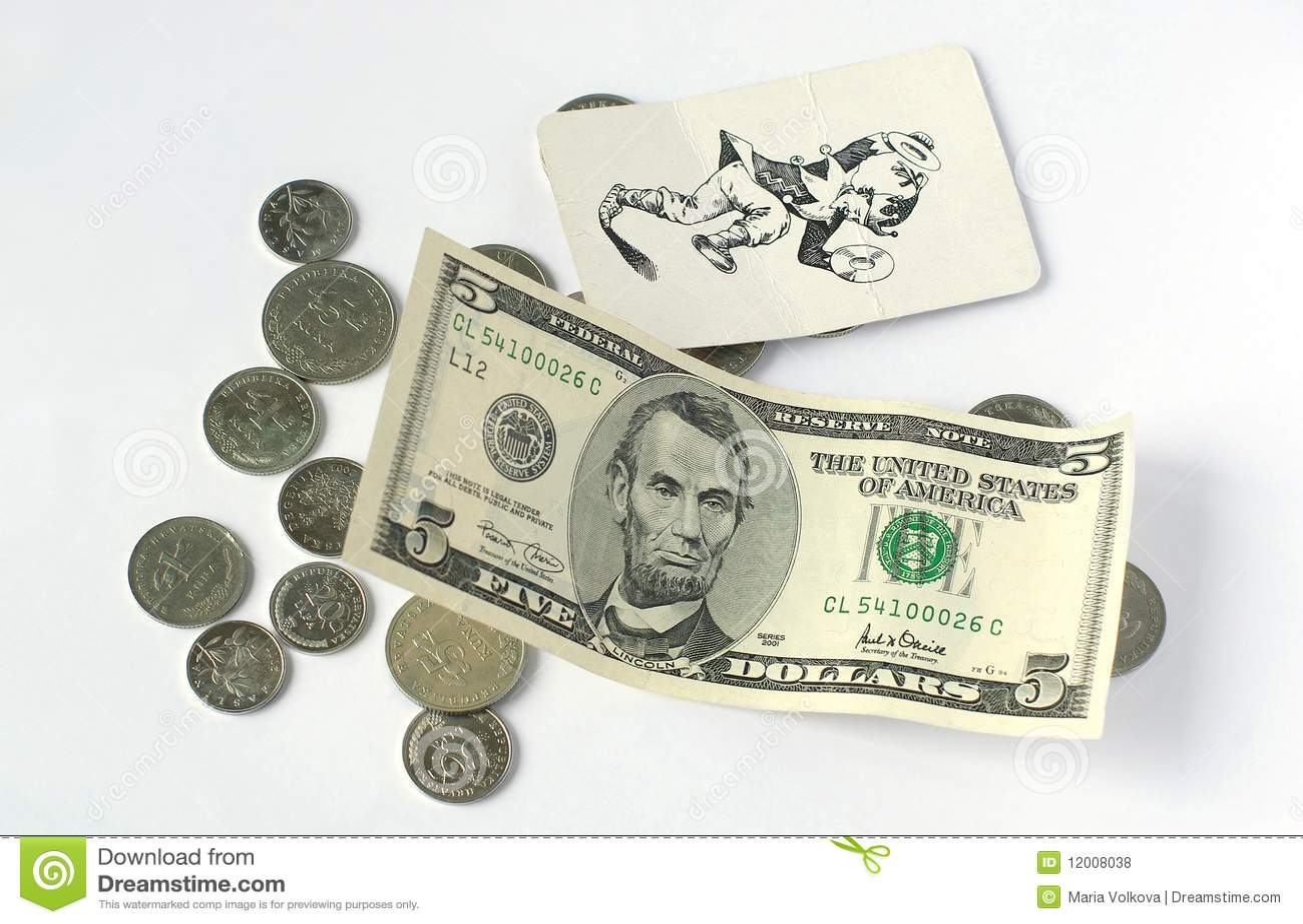 Muntstukken en vijf dollars