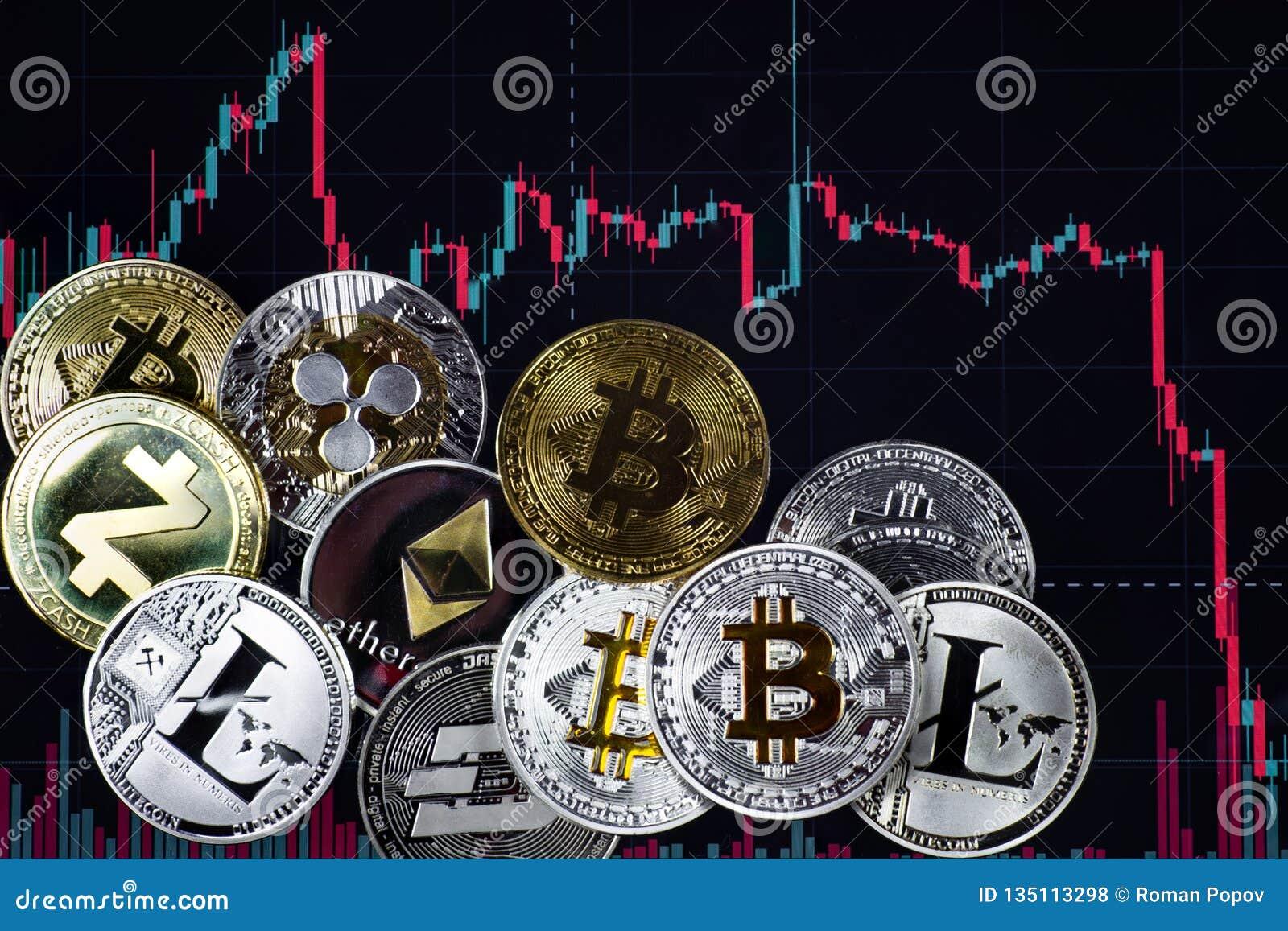 Muntstukkenetherium, bitcoin, streepje, litecoin, rimpeling, zcash tegen de achtergrond van dalende uitwisselingsgrafiek