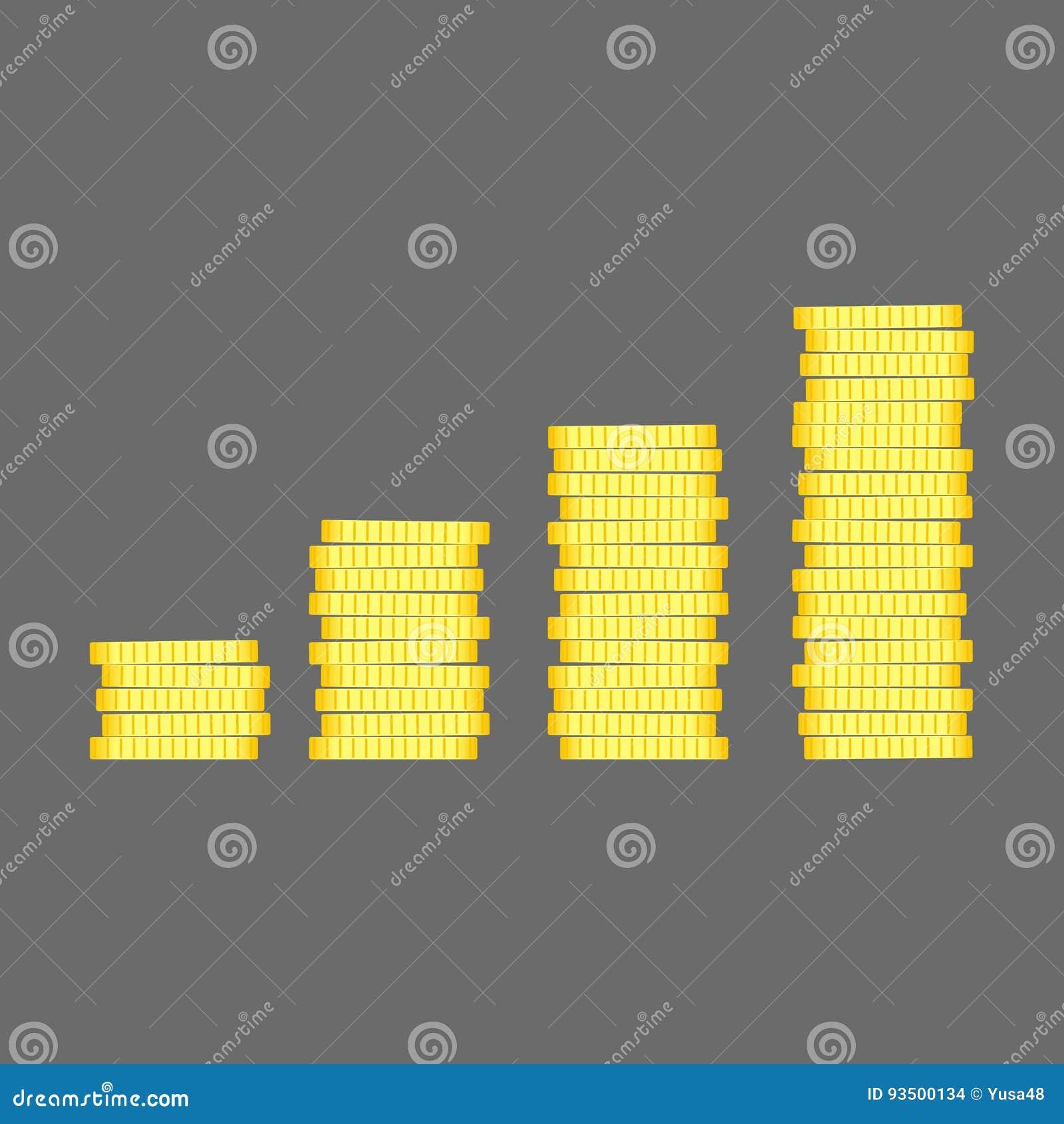 Muntstukkenstapel De gouden vector van de het ontwerpillustratie van het geldpictogram vlakke Bu