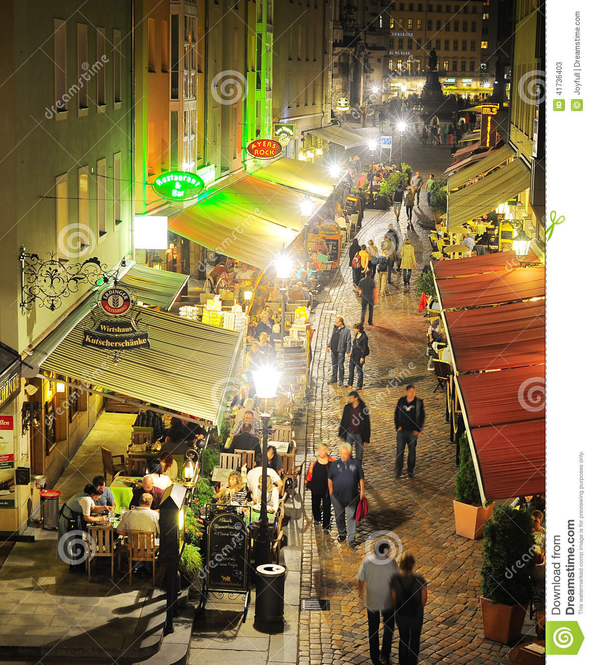 Munzgasse in Dresden editorial stock photo. Image of restaurant ...