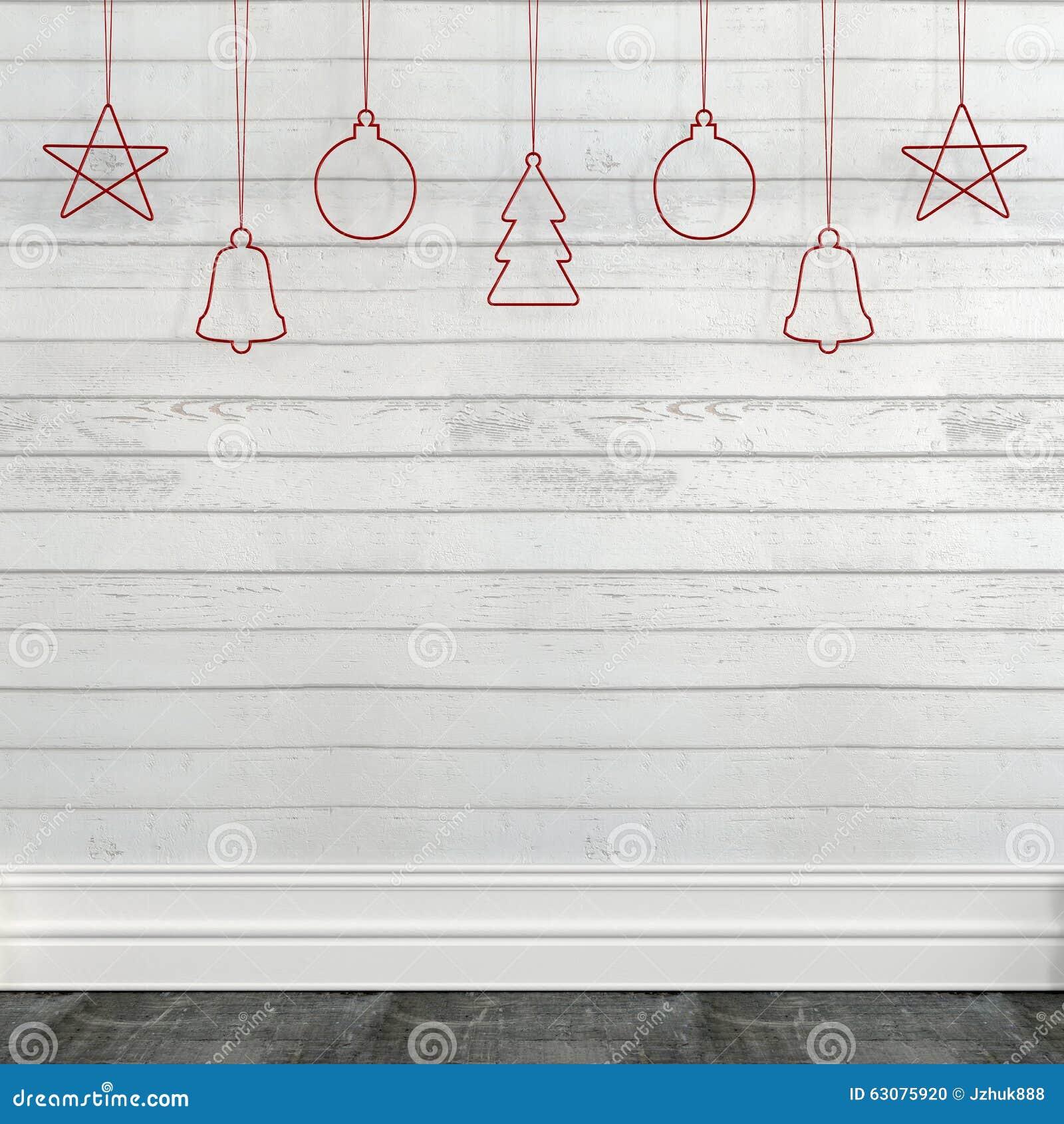 Download Mur Blanc Avec Des Décorations De Noël Photo stock - Image du jouet, texte: 63075920