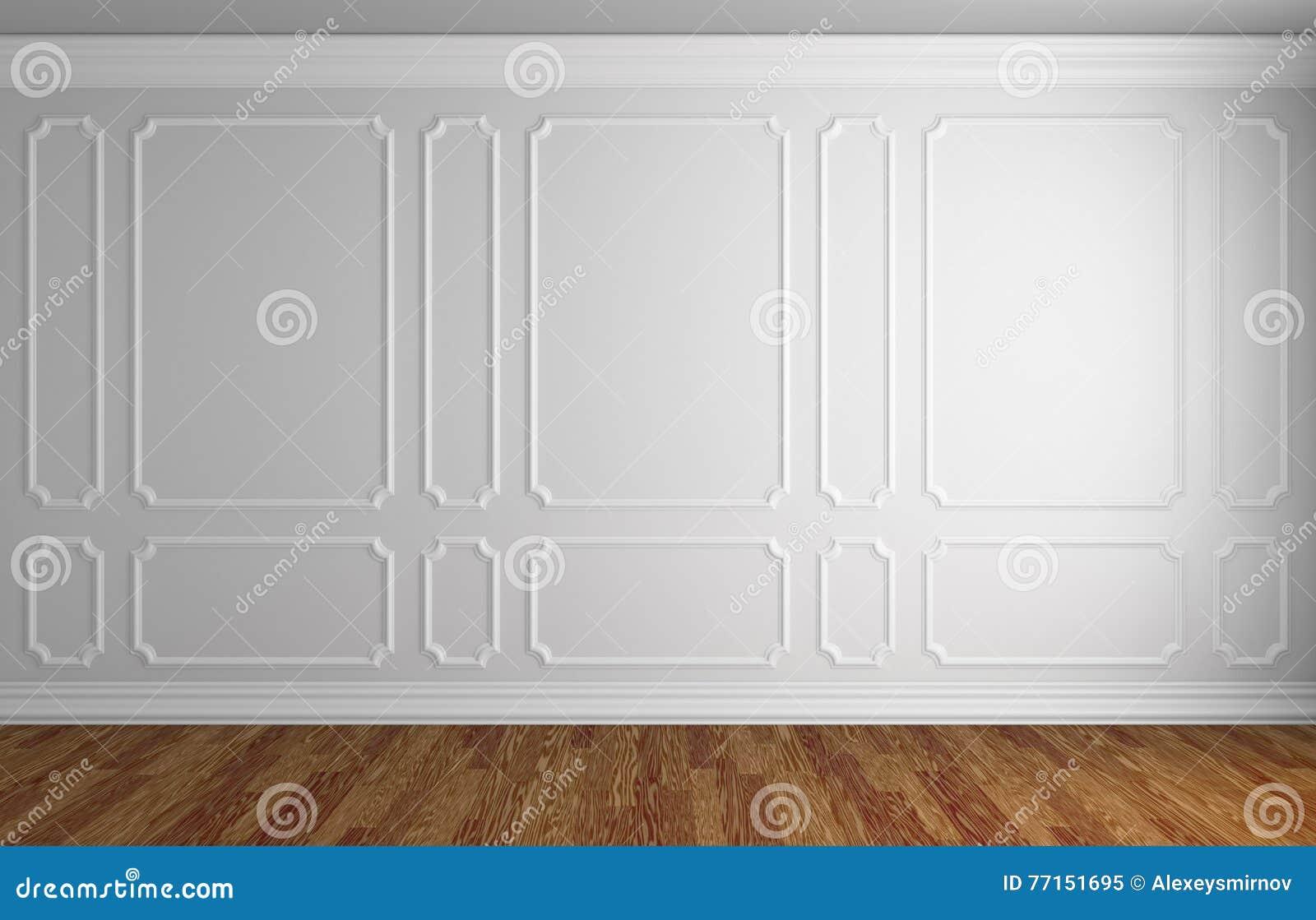 Mur blanc dans la pièce classique de style avec le parquet