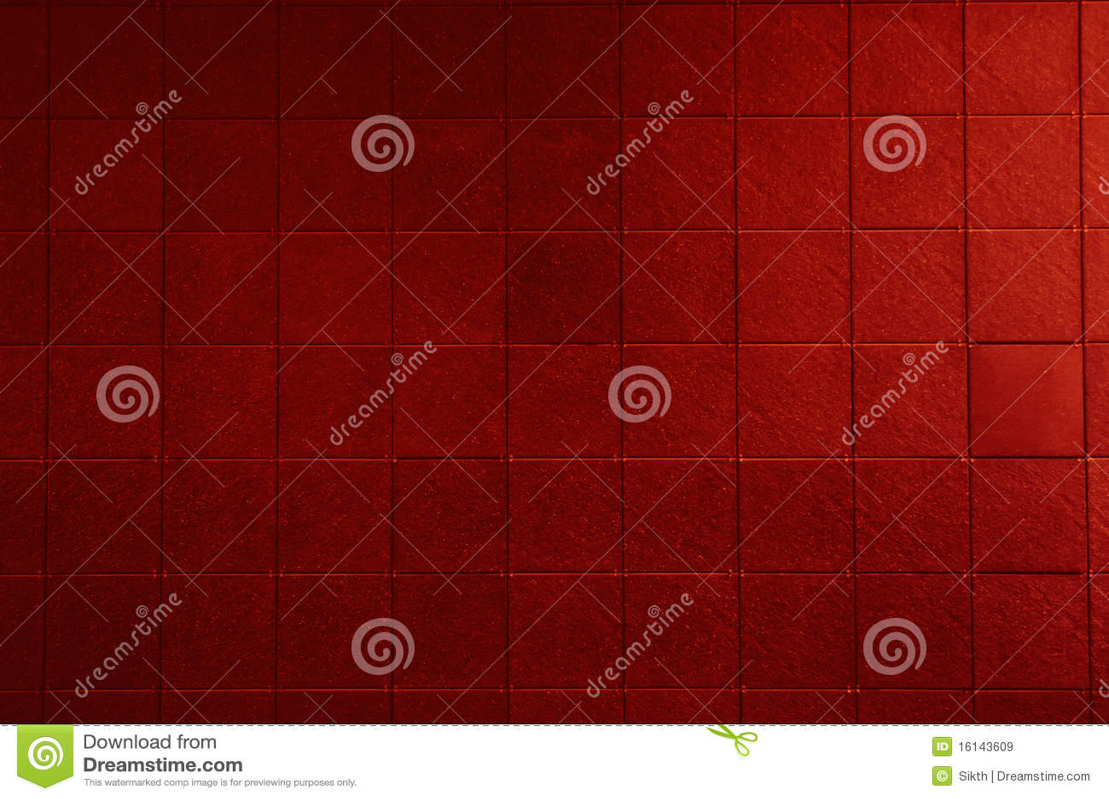 Mur carrelé rouge