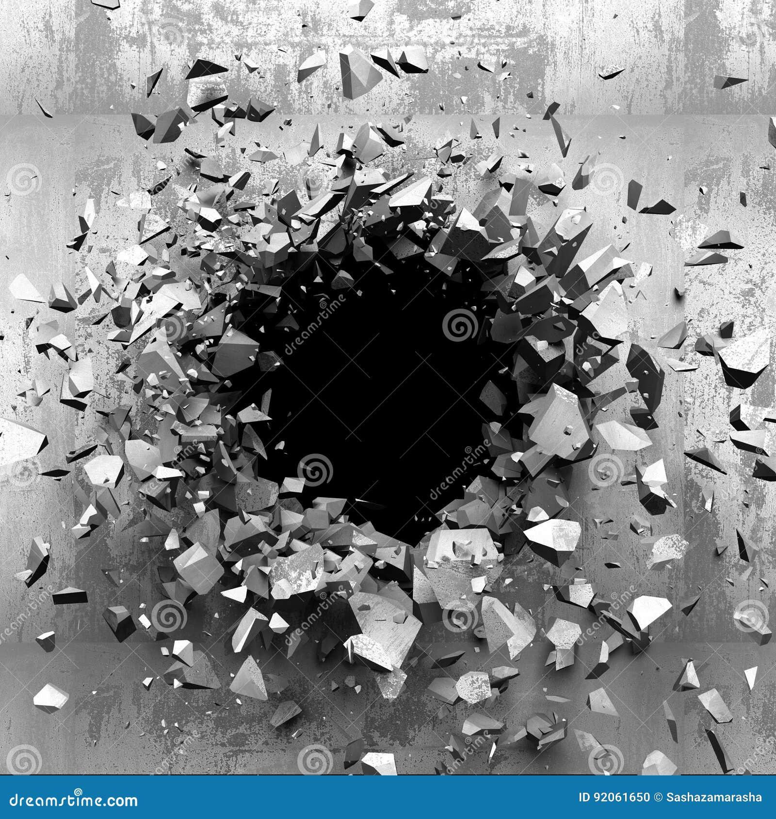 Mur cassé criqué foncé dans le mur en béton Fond grunge