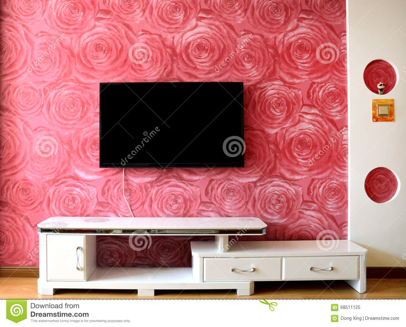 Mur Darrangement De Tv Image Stock Image Du Rose Conception
