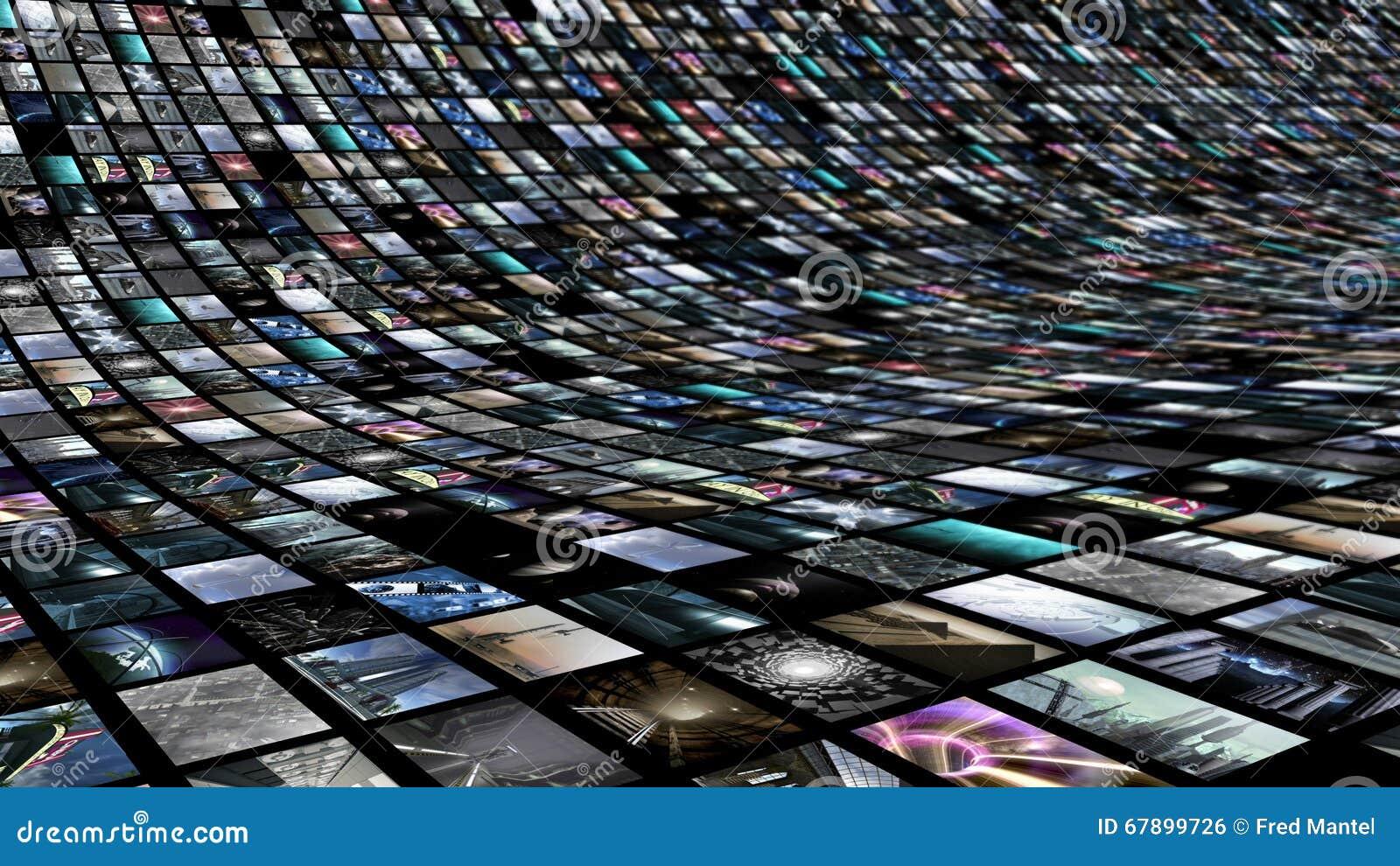 Mur d image avec beaucoup d écrans visuels