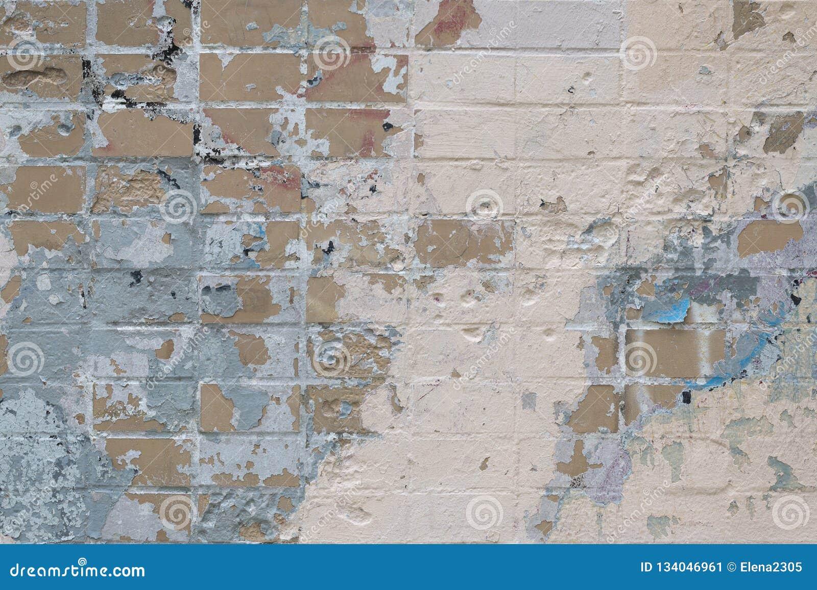 Mur De Briques Avec Des Taches De Vieux Peinture Et Plâtre D épluchage