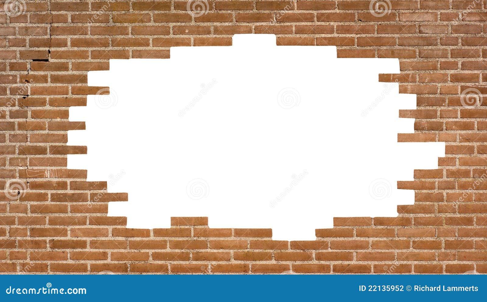 mur de briques avec un grand trou photo stock image du modifi construction 22135952. Black Bedroom Furniture Sets. Home Design Ideas