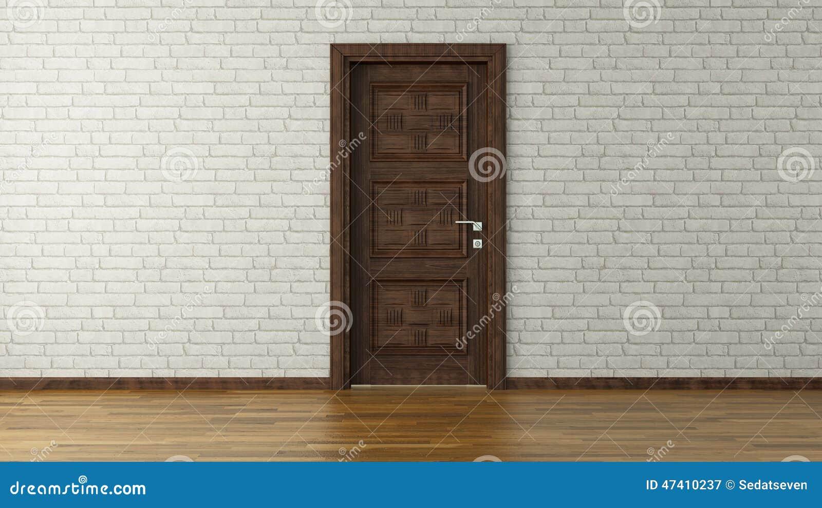 mur de briques blanc avec la porte image stock image du. Black Bedroom Furniture Sets. Home Design Ideas