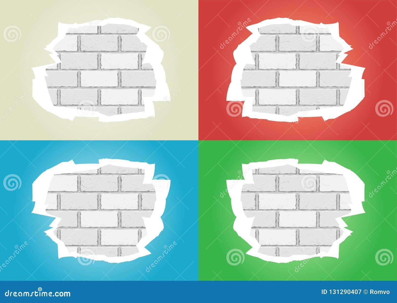 Mur De Briques Blanc Déchiré De Papiers Peints Illustration de ...
