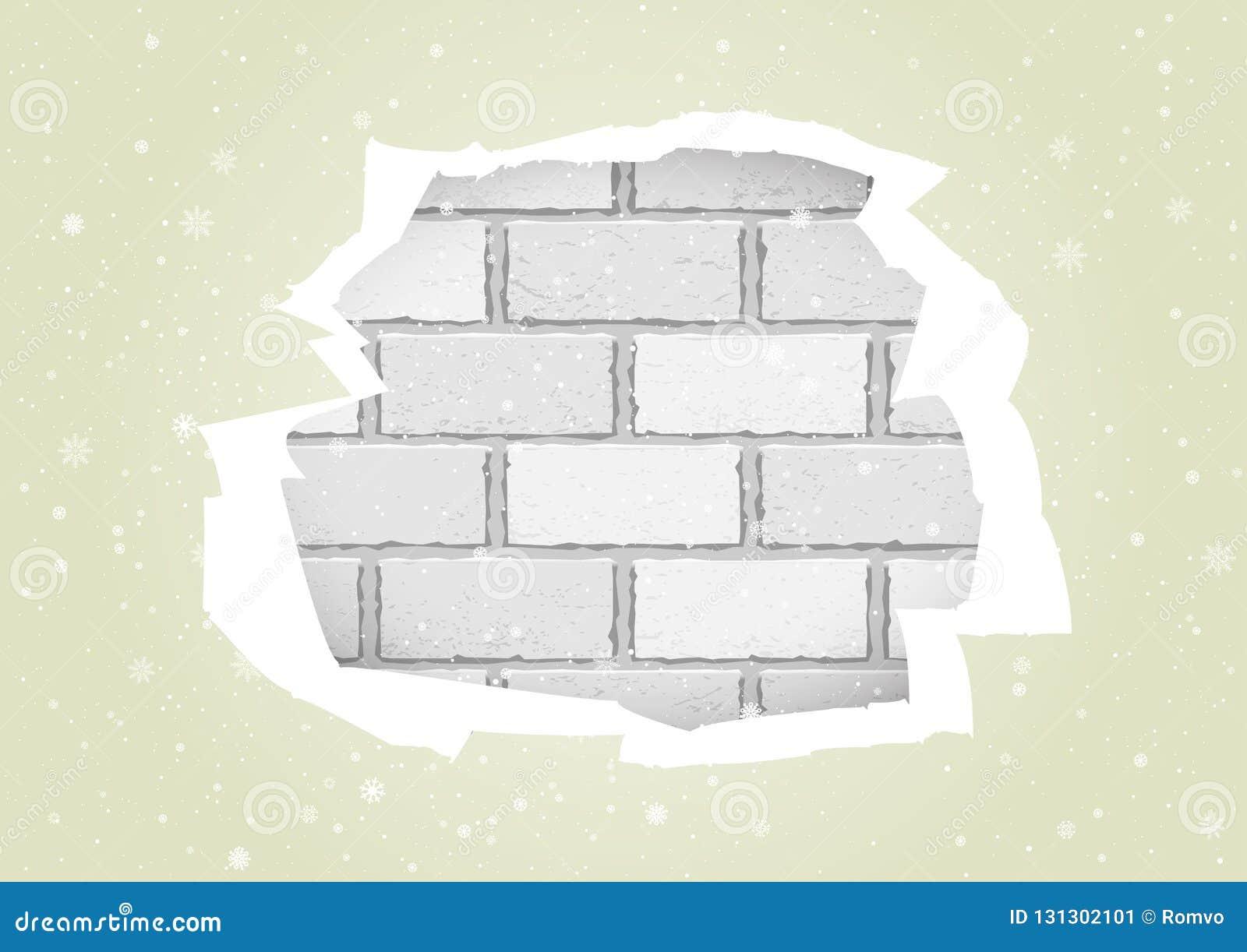 Charmant Chutes De Neige De Noël Et Papier Peint Crème Déchiré Sur Le Fond Blanc De  Brique Calibre Cassé De Trou De Cadre De Mur