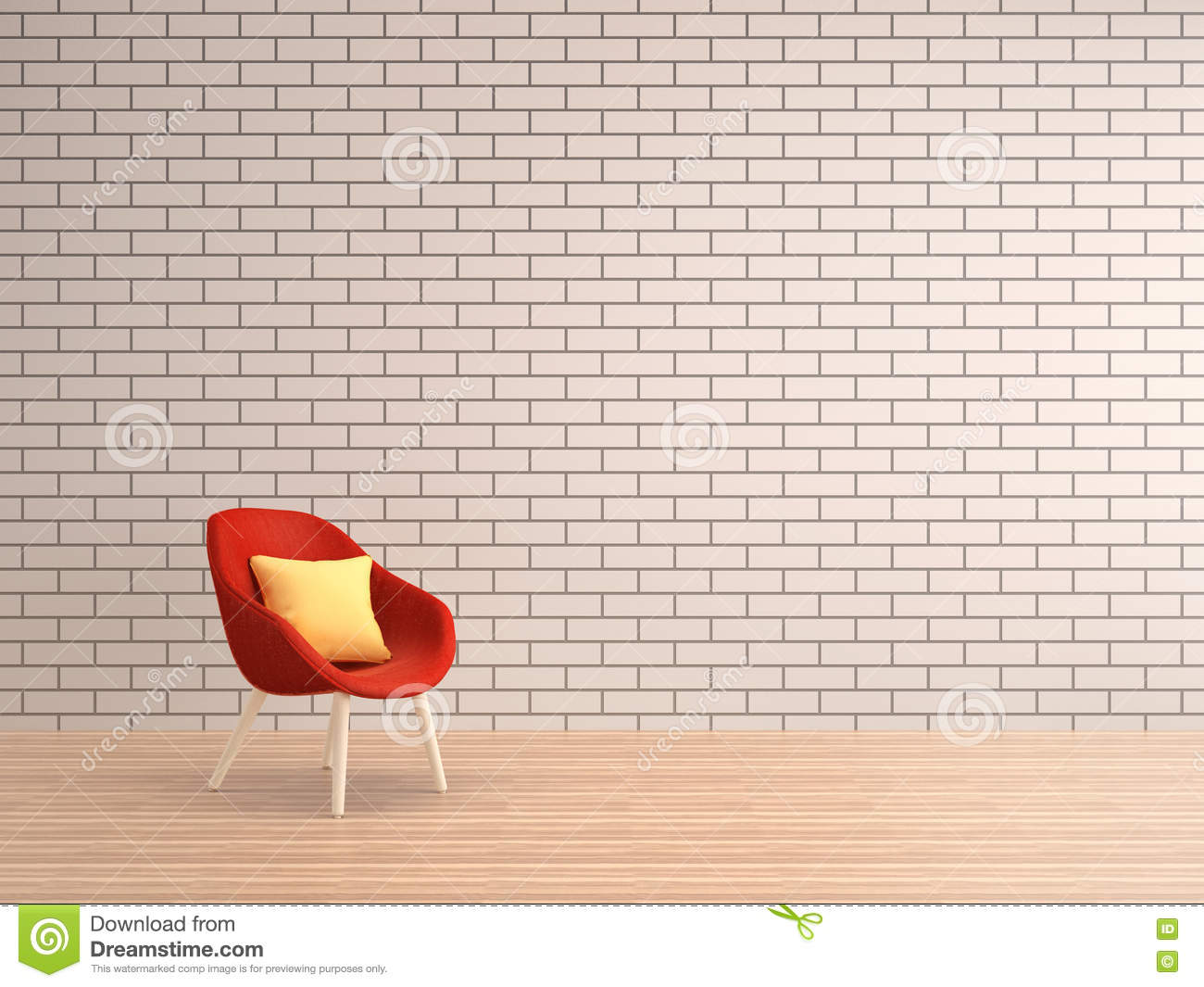 mur de briques blanc de salon avec le fauteuil rouge illustration stock image 75905849. Black Bedroom Furniture Sets. Home Design Ideas