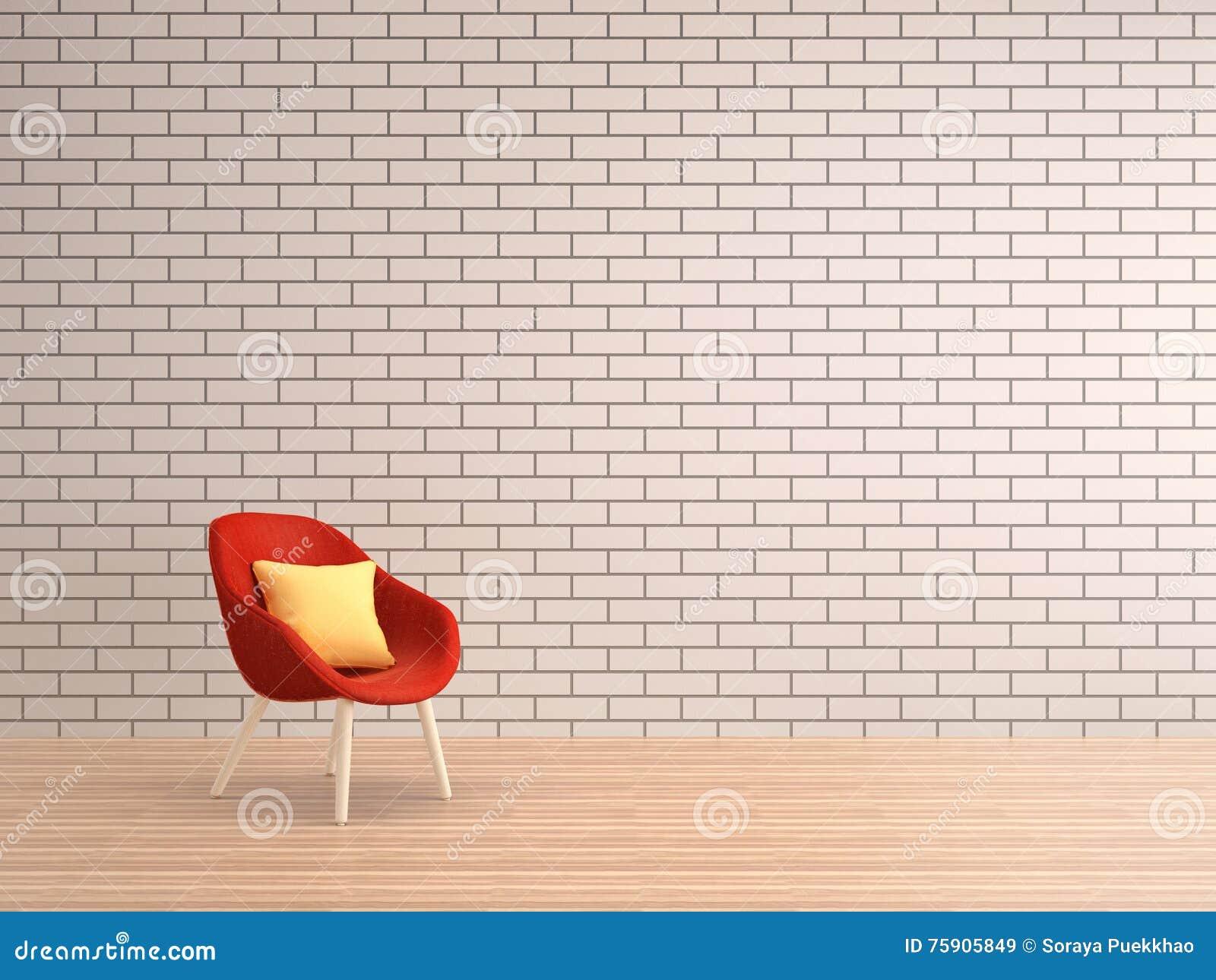 mur de briques blanc de salon avec le fauteuil rouge. Black Bedroom Furniture Sets. Home Design Ideas