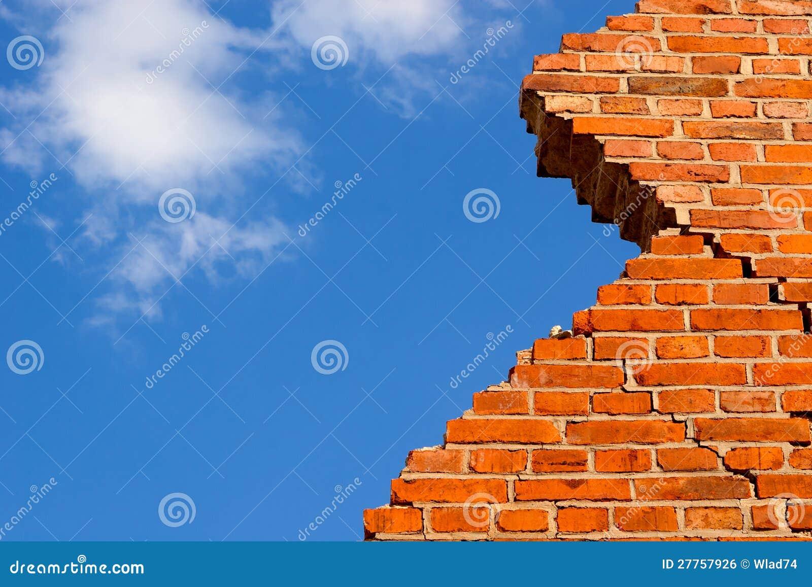 Mur de briques cassé contre le ciel