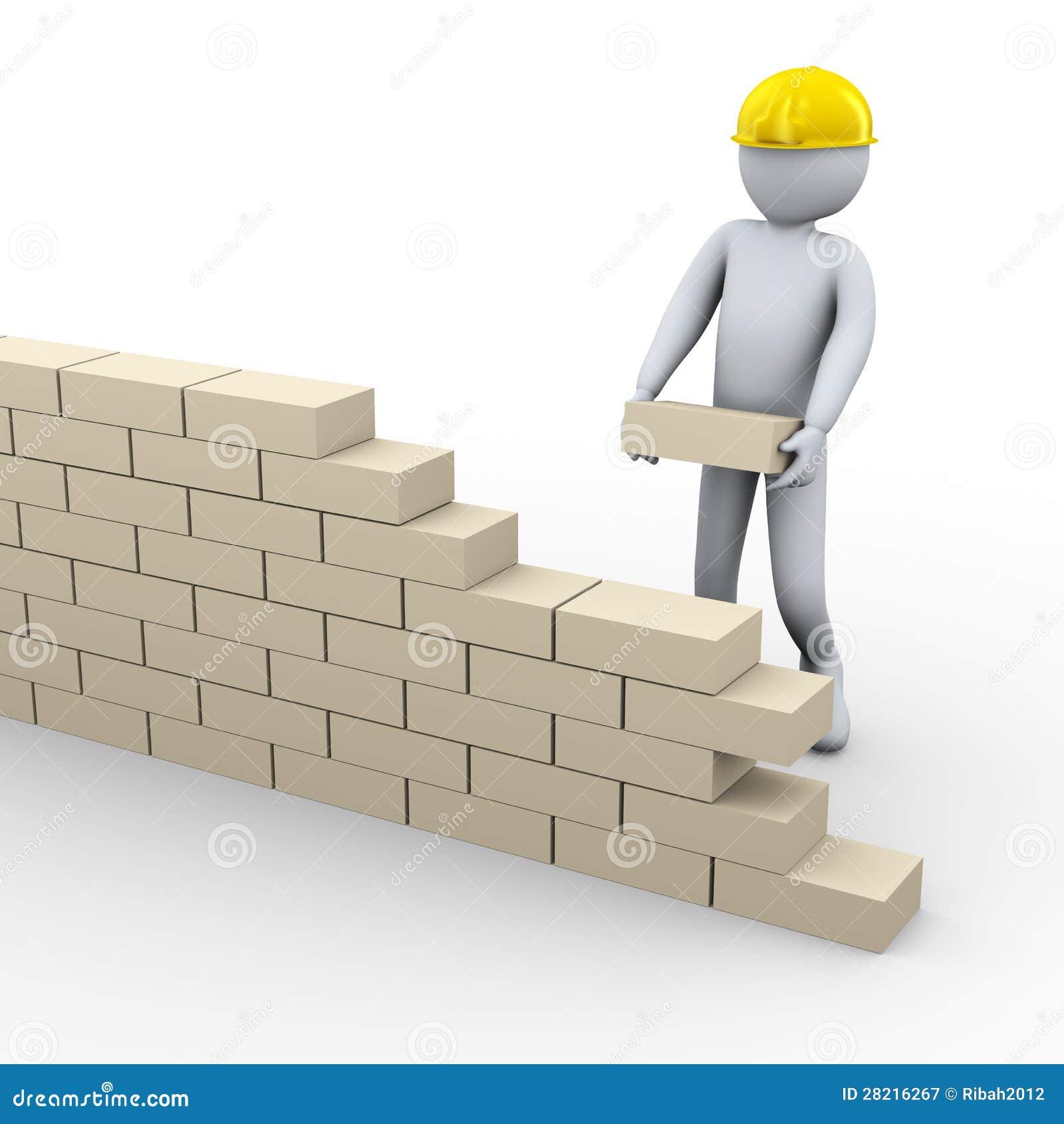 Mur de briques de construction de l 39 homme 3d photographie for Construire mur en brique